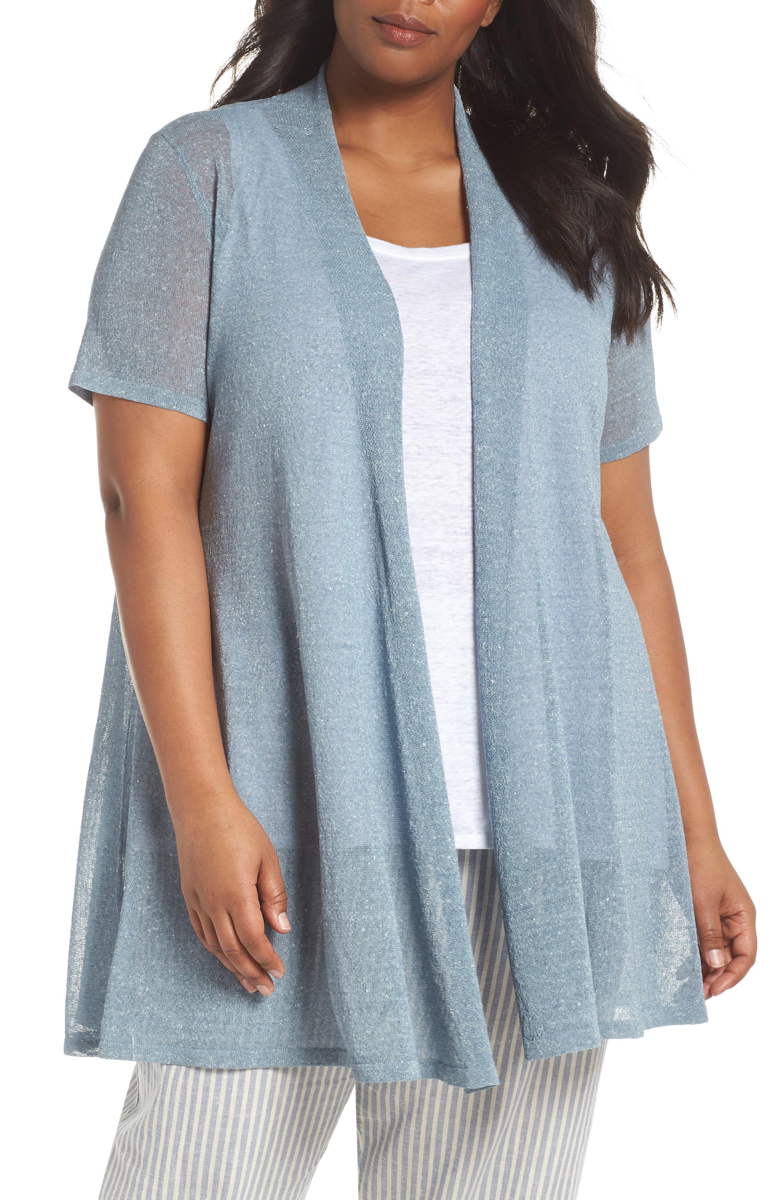 Long Organic Linen Blend Cardigan,                         Main,                         color, 454