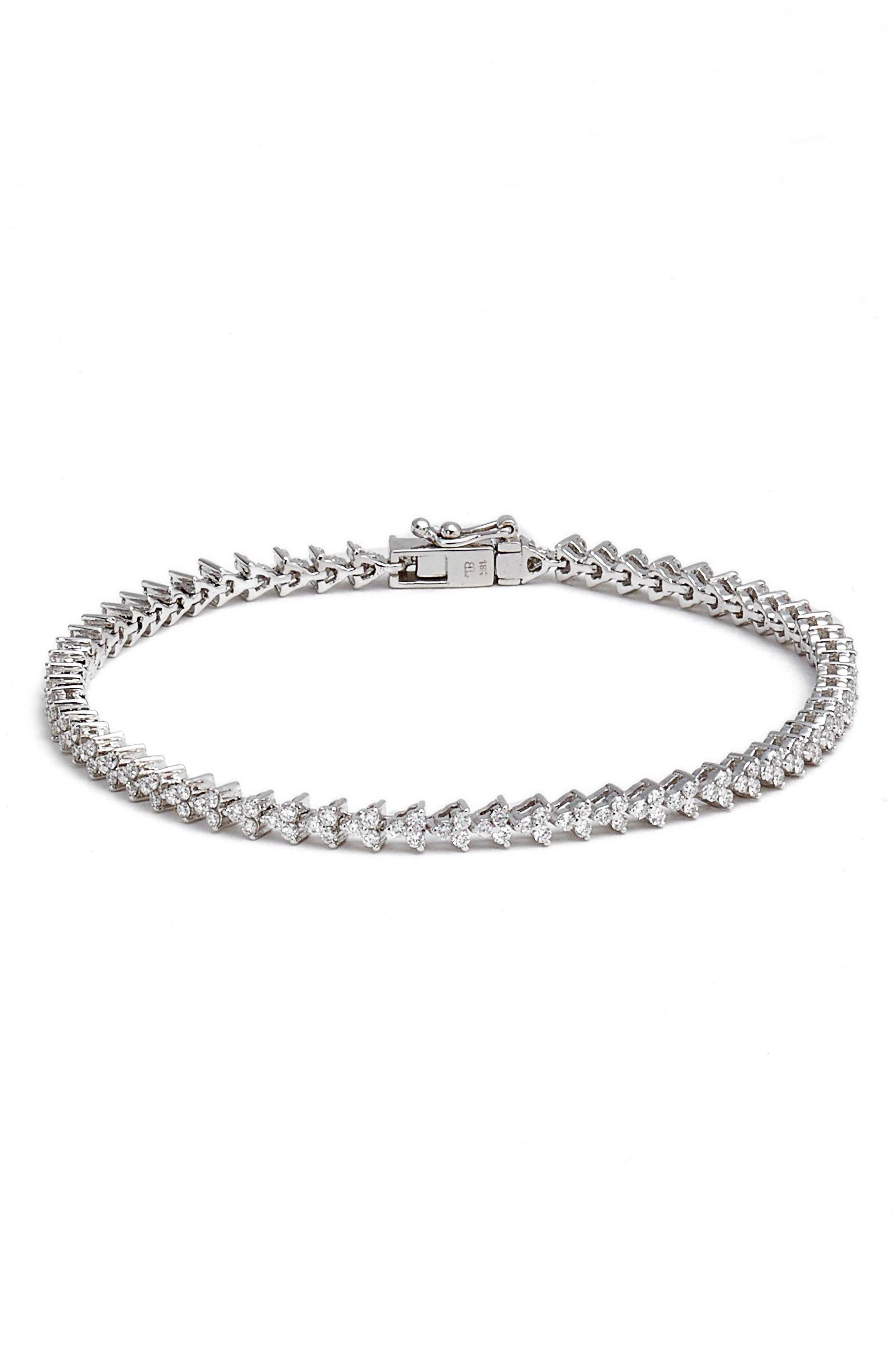 Liora Diamond Tennis Bracelet,                             Main thumbnail 1, color,                             WHITE GOLD
