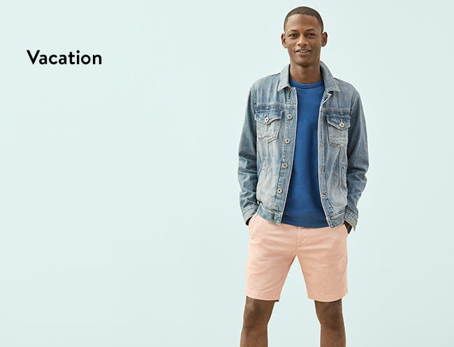 Men's vacation clothing, shoes and accessories.