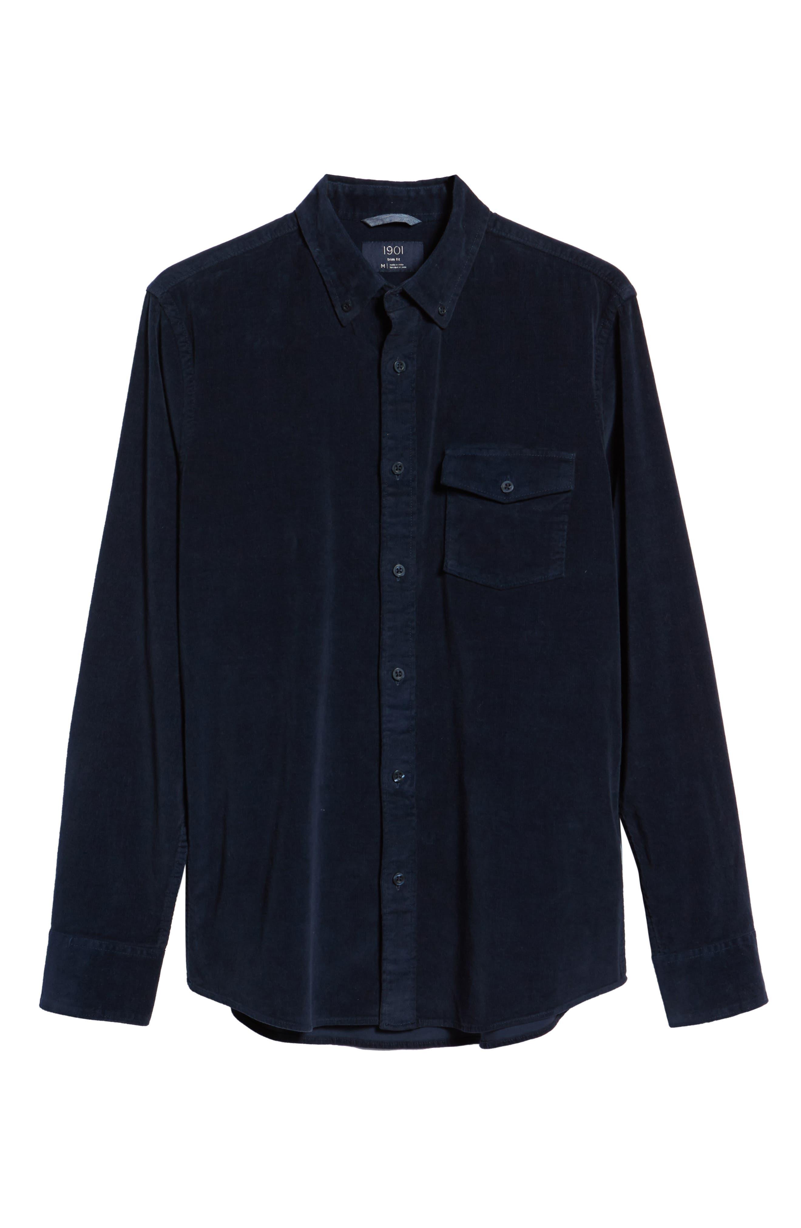 Ivy Trim Fit Corduroy Sport Shirt,                             Alternate thumbnail 6, color,                             NAVY NIGHT