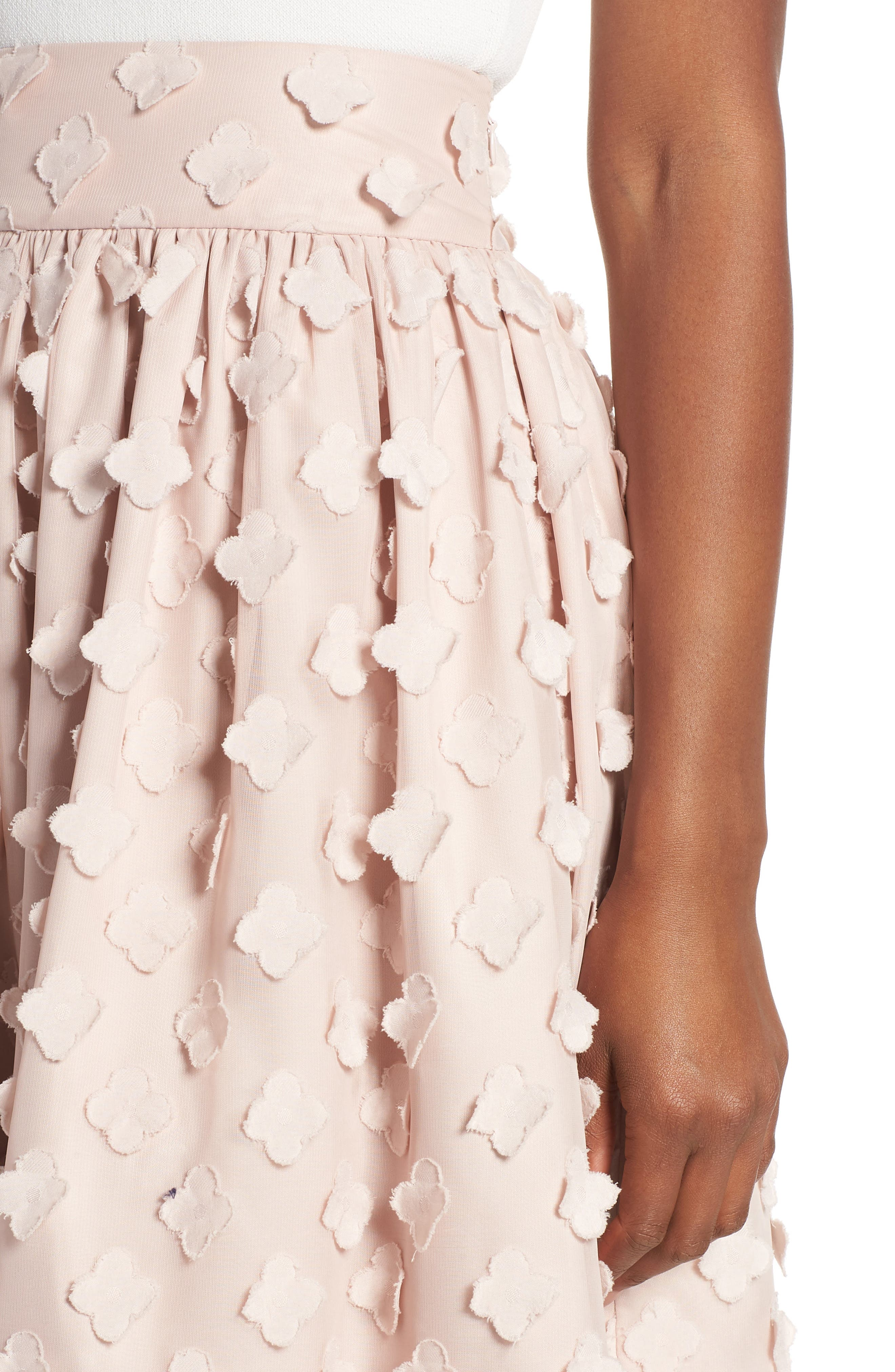 Flower Texture Gathered Skirt,                             Alternate thumbnail 4, color,                             BLUSH
