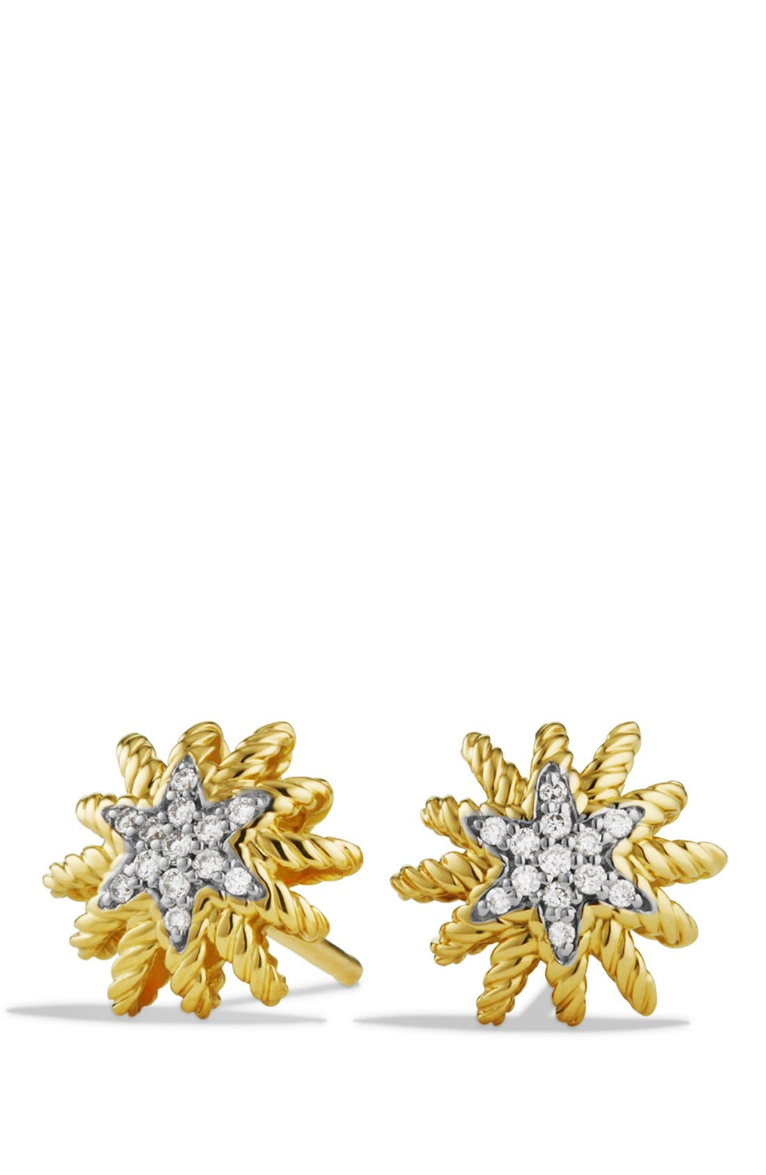 'Starburst' Mini Earrings with Diamonds in Gold,                             Main thumbnail 1, color,                             YELLOW GOLD