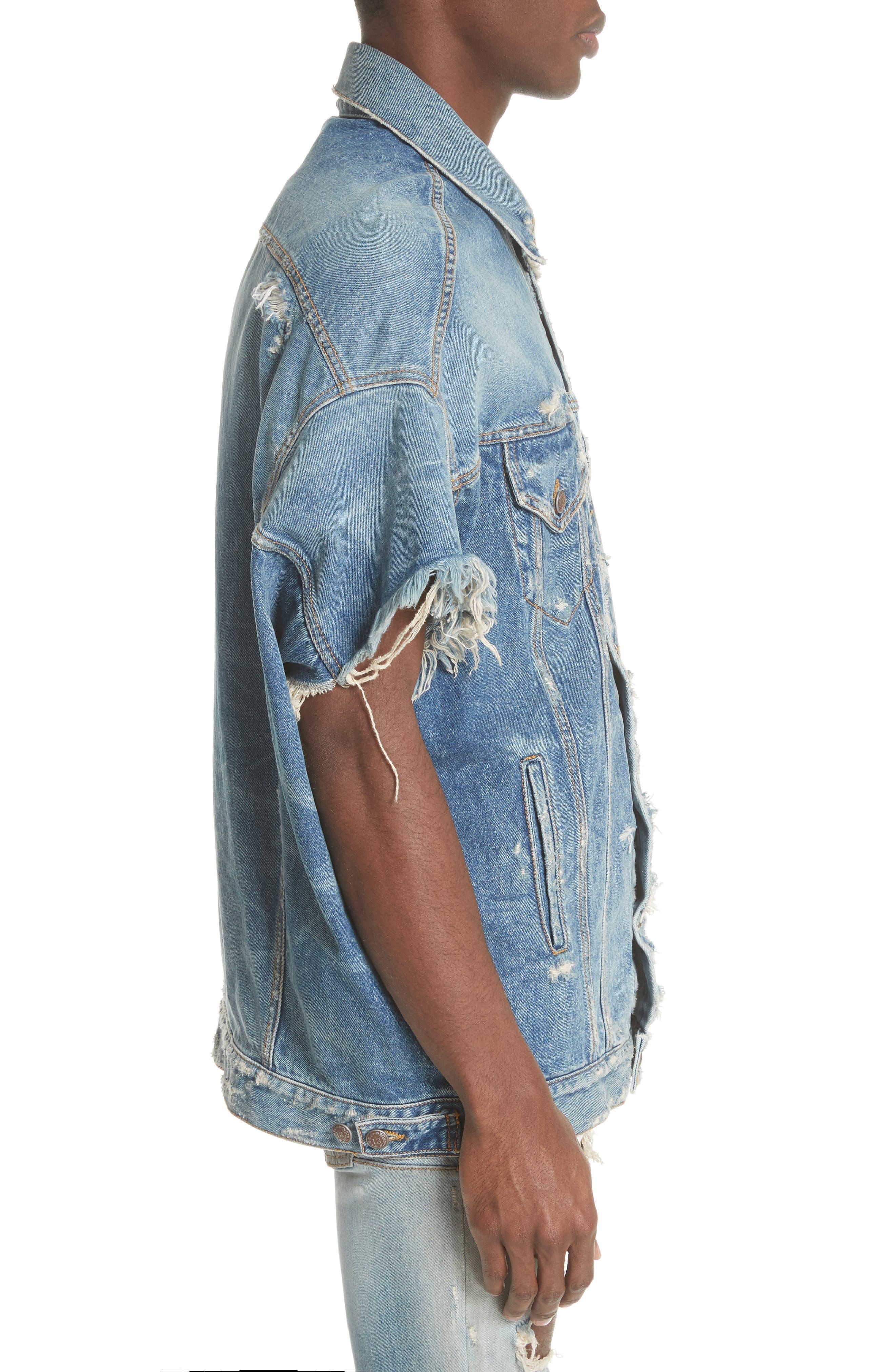 Oversized Cutoff Denim Jacket,                             Alternate thumbnail 3, color,                             400