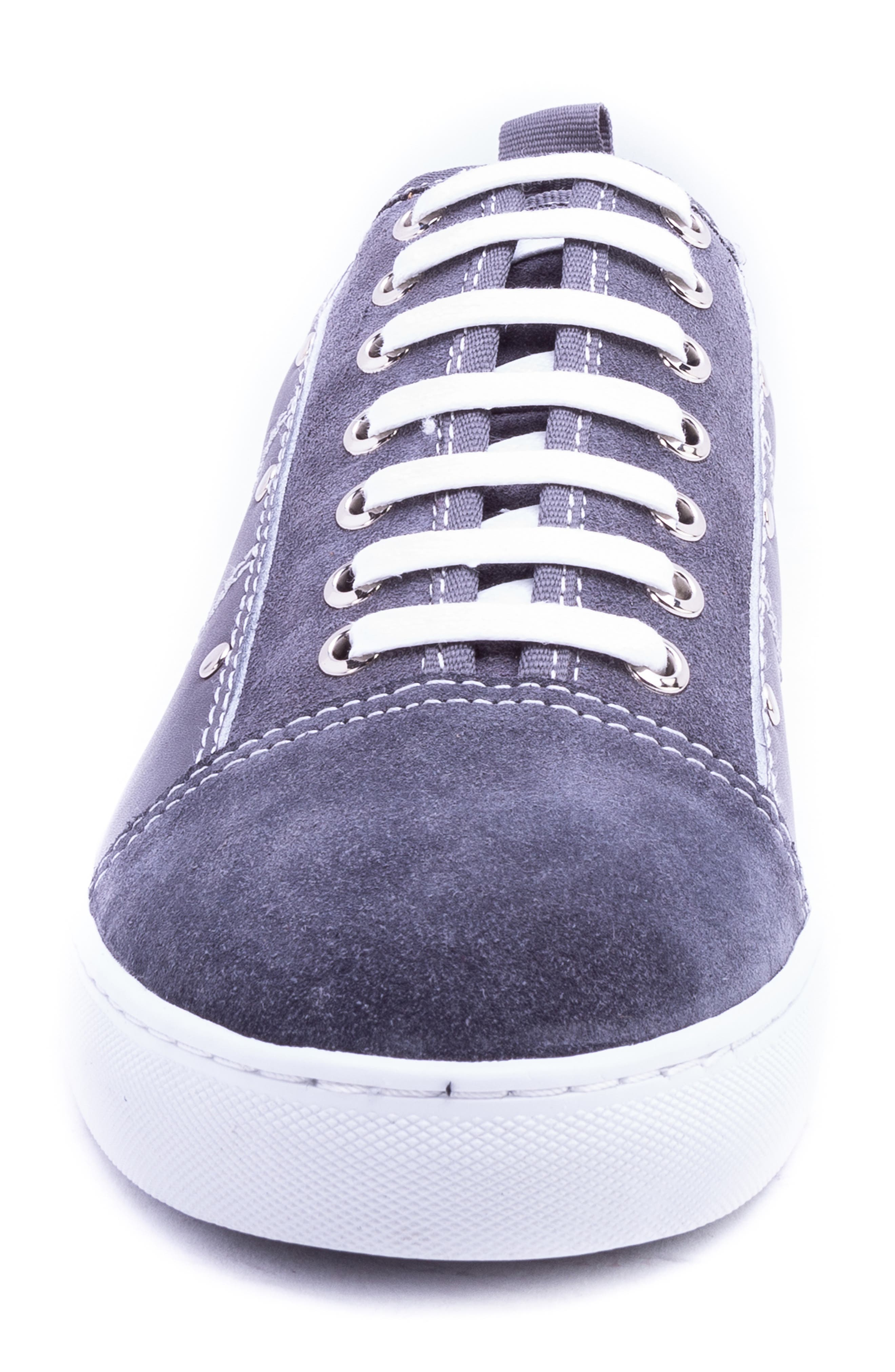 Severn Studded Low Top Sneaker,                             Alternate thumbnail 4, color,                             GREY SUEDE/ LEATHER