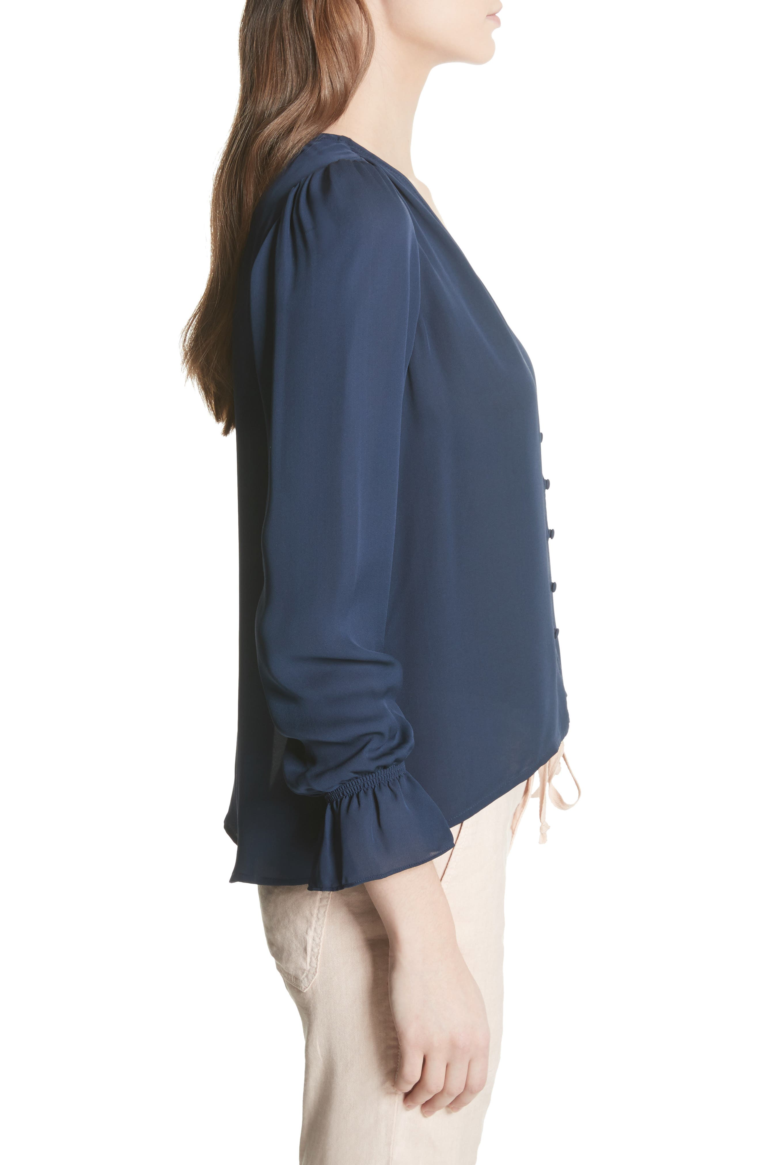 Bolona Silk Gathered Sleeve Top,                             Alternate thumbnail 3, color,                             410