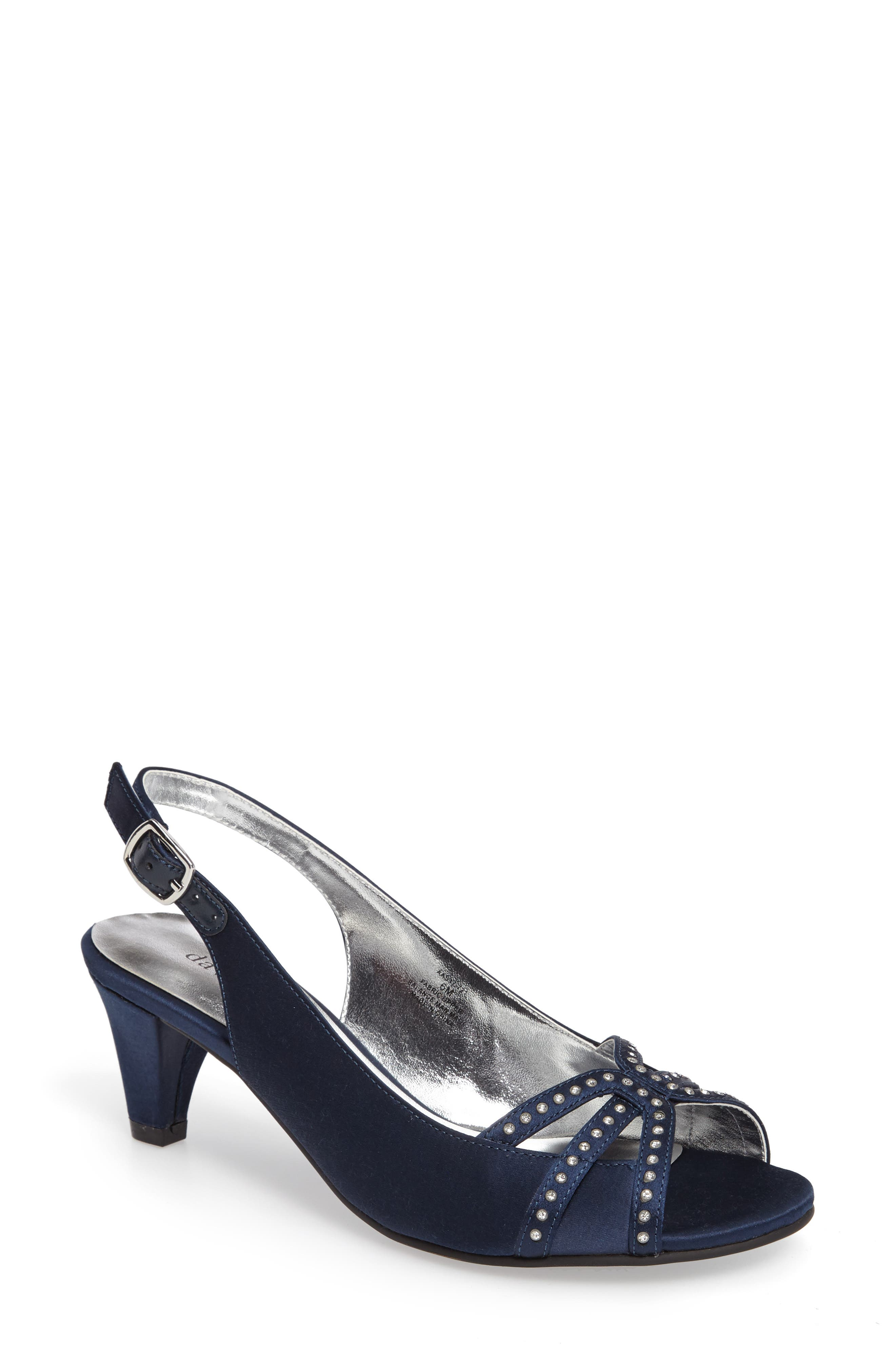 Regal Embellished Slingback Sandal,                             Main thumbnail 1, color,                             NAVY FABRIC
