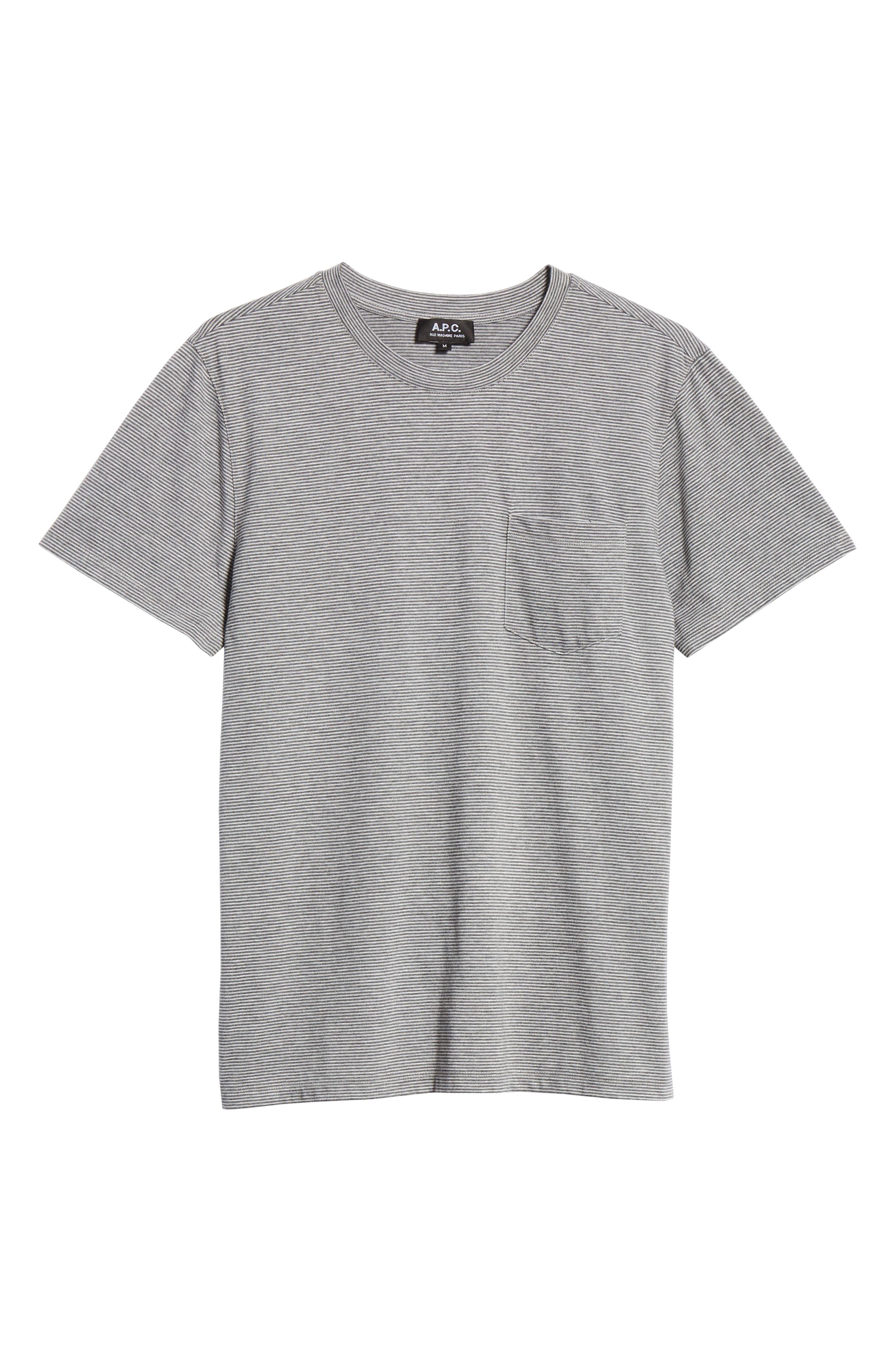 Keanu Striped Pocket T-Shirt,                             Alternate thumbnail 6, color,                             PLA GRIS