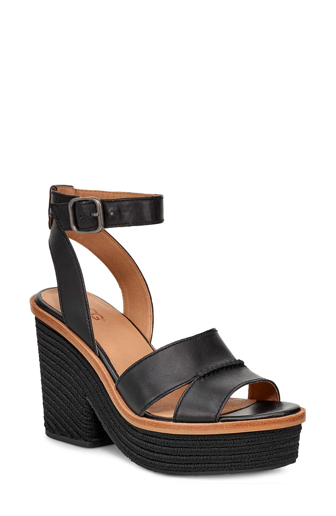 Carine Platform Sandal,                             Main thumbnail 1, color,                             BLACK LEATHER