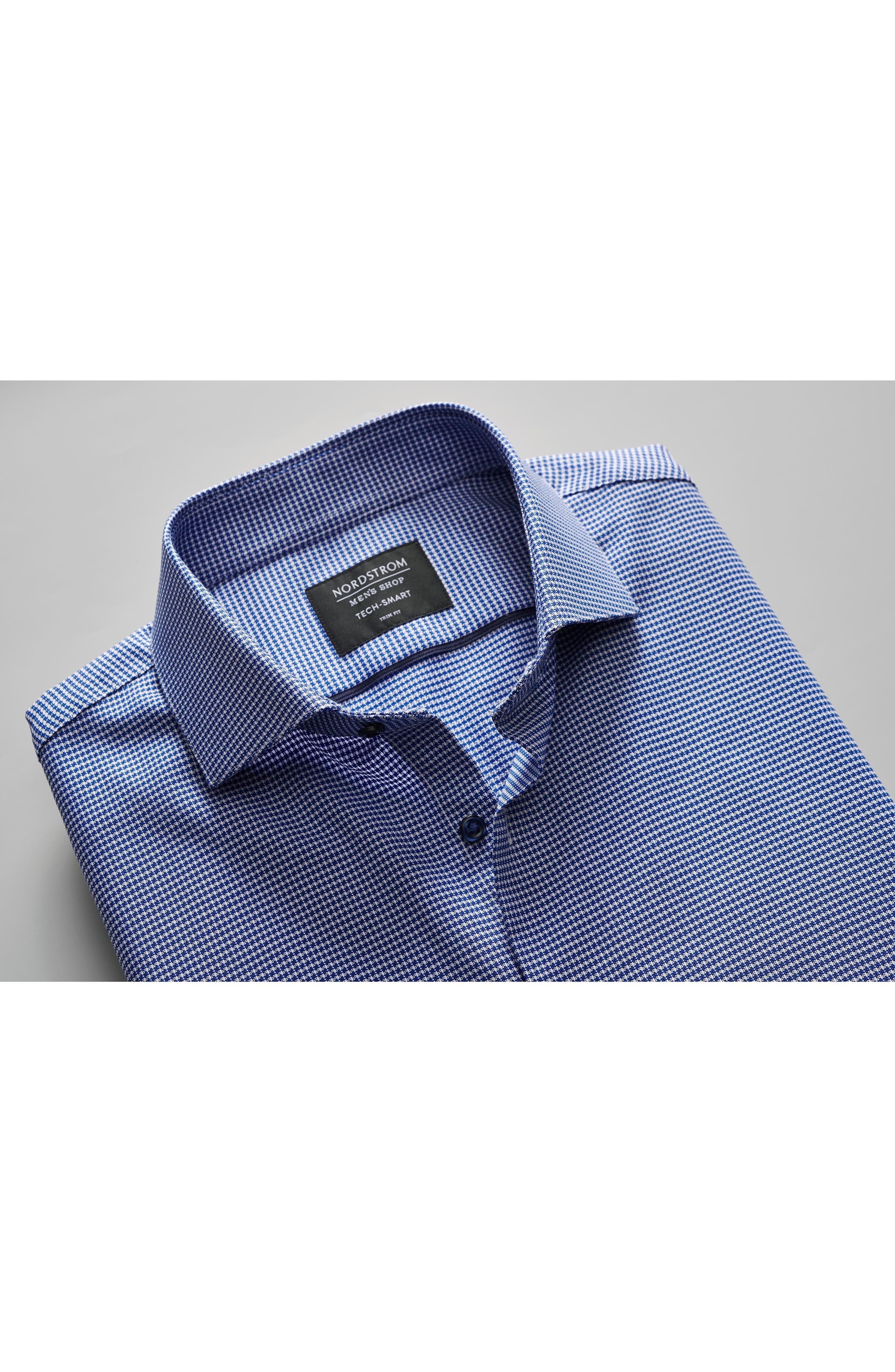 NORDSTROM MEN'S SHOP,                             Tech-Smart Trim Fit Stretch Texture Dress Shirt,                             Alternate thumbnail 11, color,                             BLUE HYDRANGEA
