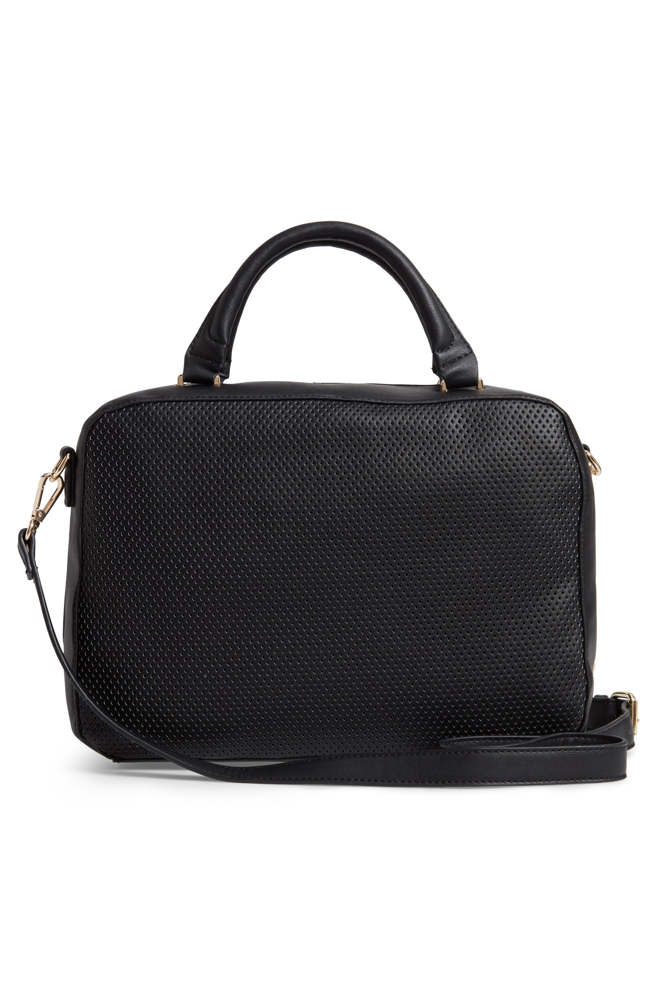 Kaylee Perforated Faux Leather Satchel,                             Alternate thumbnail 3, color,                             001