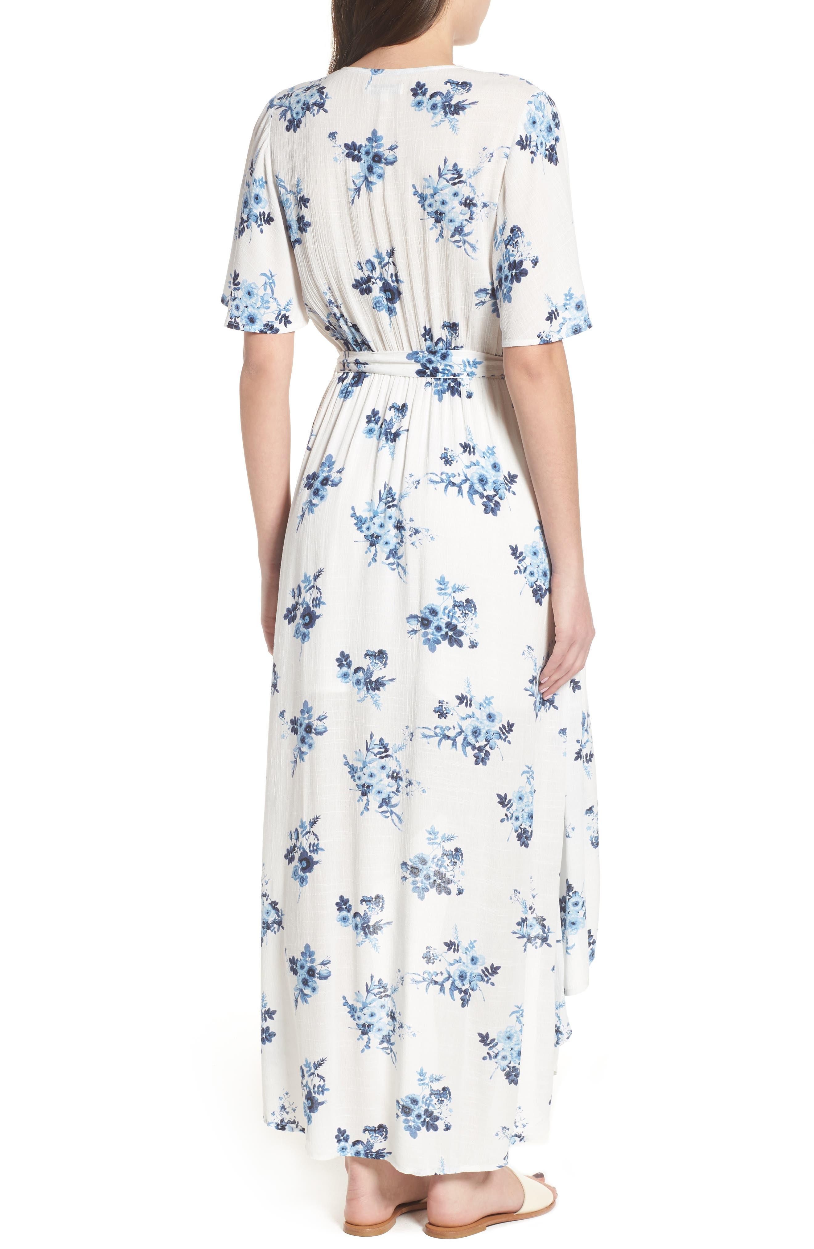Floral Midi Wrap Dress,                             Alternate thumbnail 2, color,
