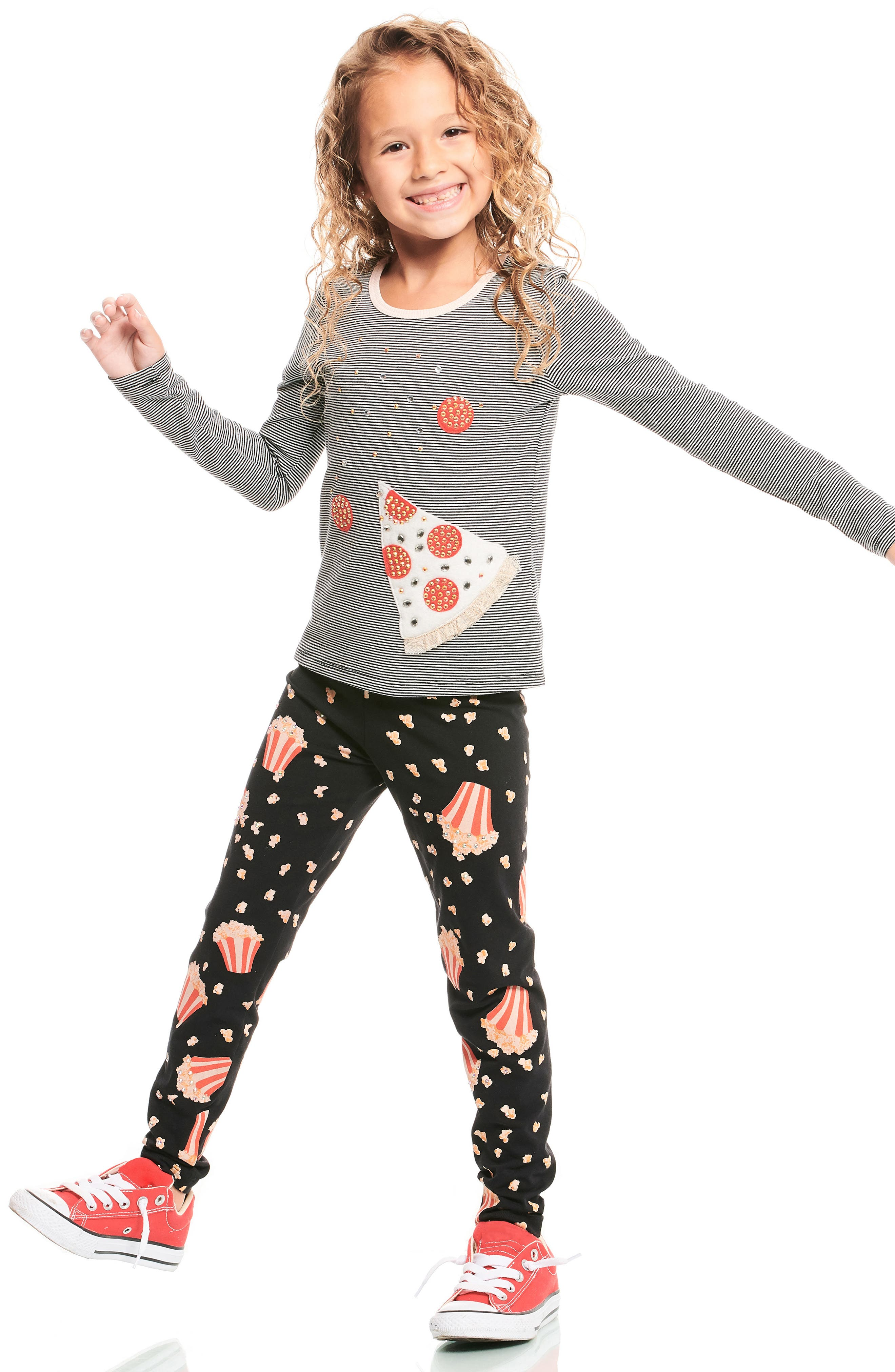 Popcorn Print Leggings,                             Alternate thumbnail 2, color,                             001