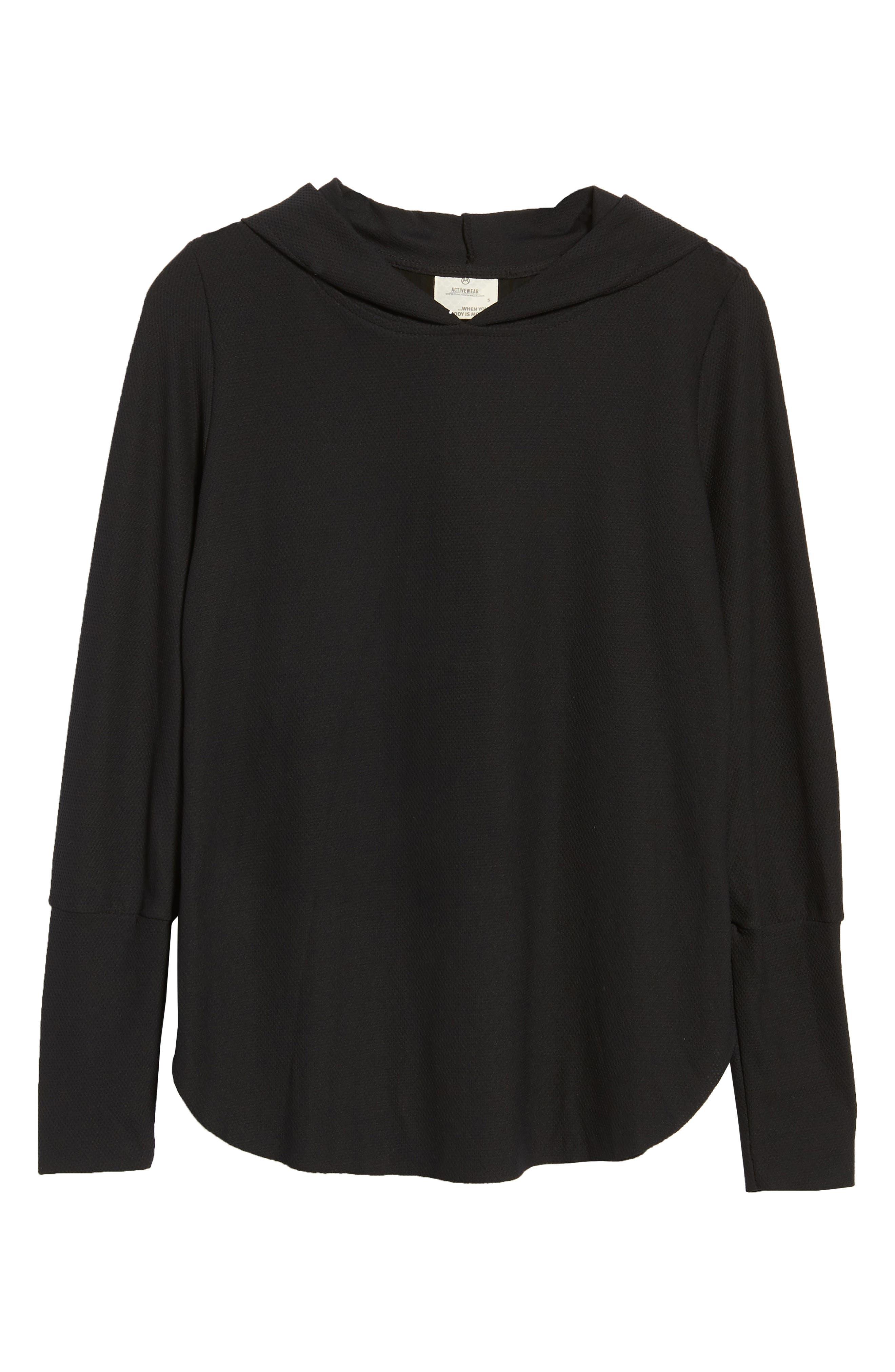 Full Zip Hoodie Wool Sweater,                             Alternate thumbnail 6, color,                             JET BLACK