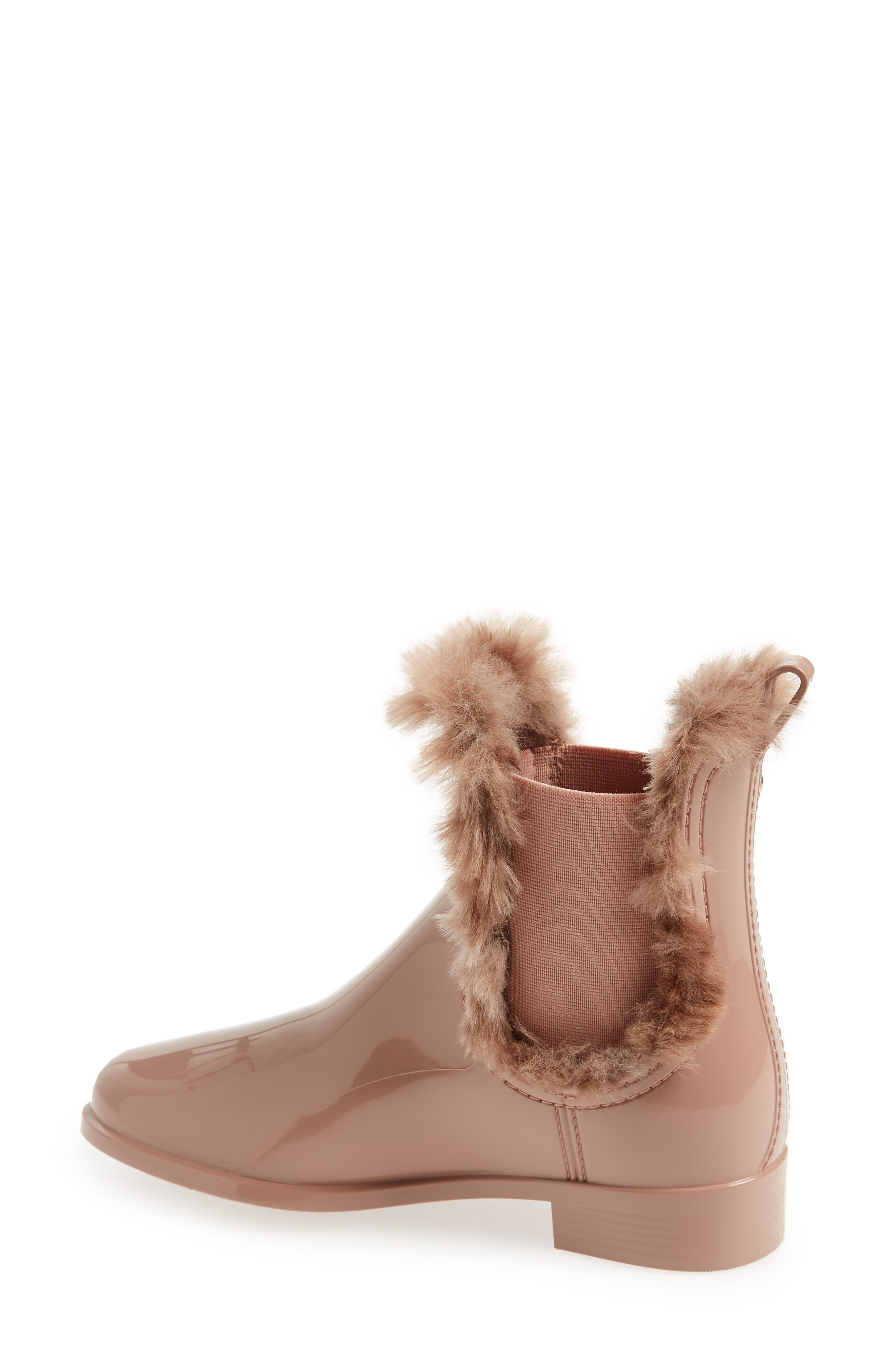 Aisha Waterproof Chelsea Boot with Faux Fur Lining,                             Alternate thumbnail 2, color,                             ROSE MATTE