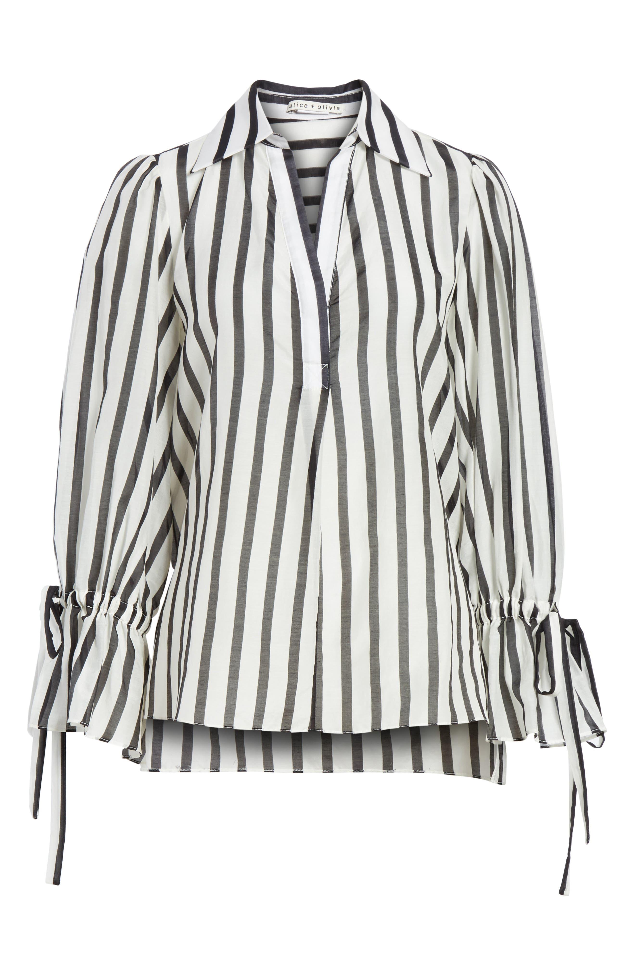 Geraldine Bow Sleeve Stripe Cotton Silk Tunic Top,                             Alternate thumbnail 6, color,                             170