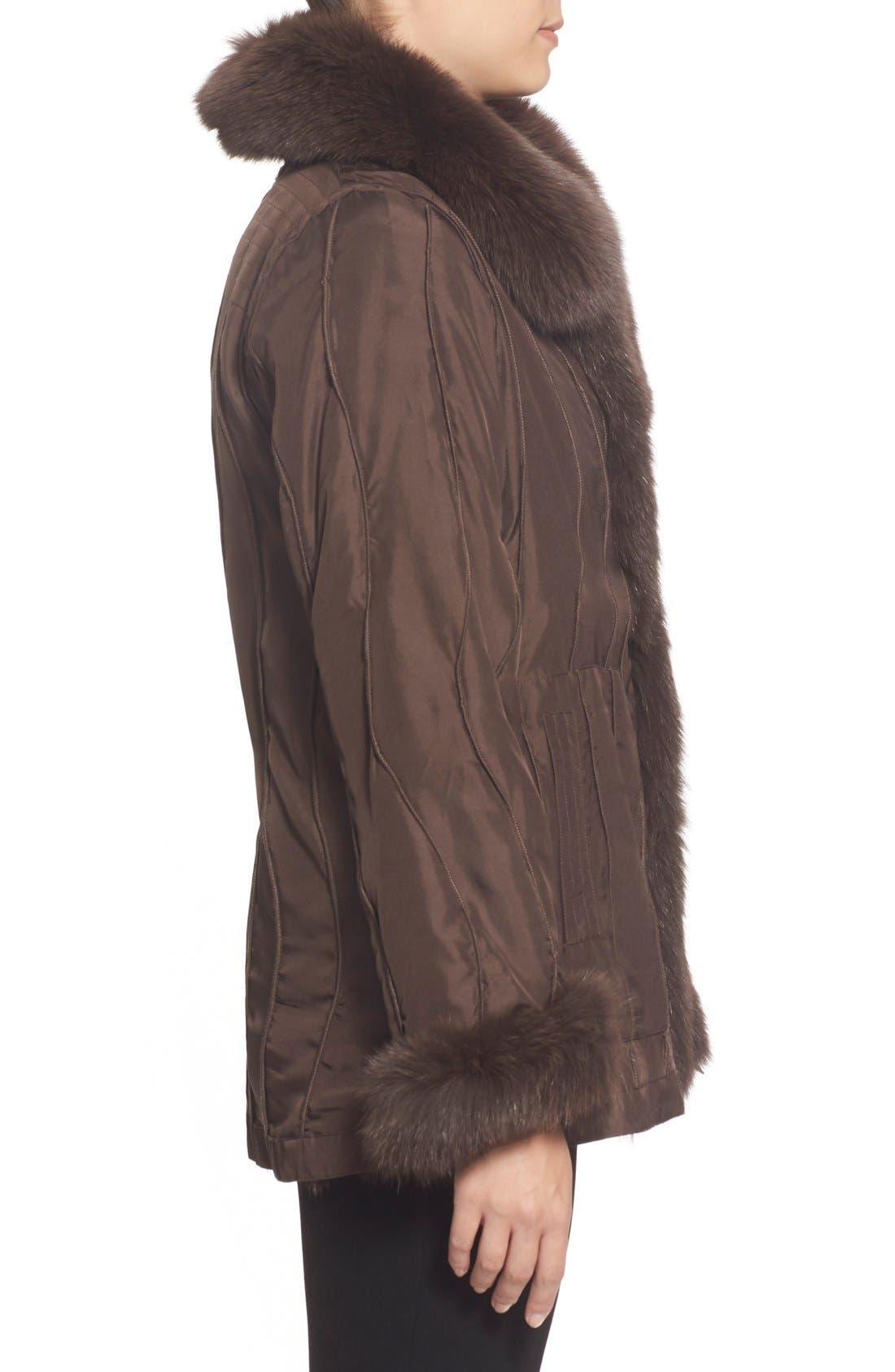 GeorgeSimonton Reversible Silk & Genuine Fox Fur Topper,                             Alternate thumbnail 9, color,