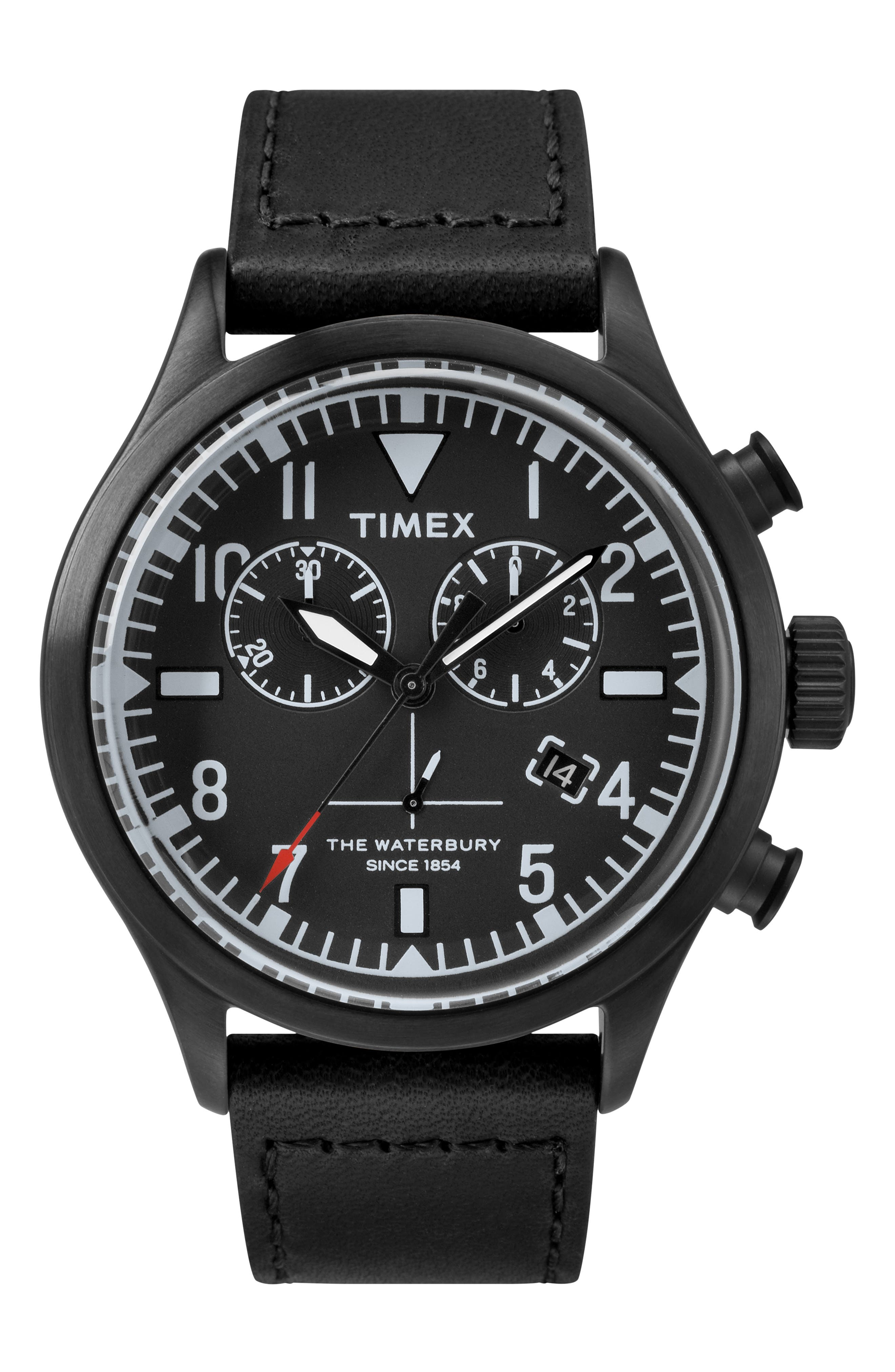 TIMEX<SUP>®</SUP> X TODD SNYDER The Military Chronograph Leather Strap Watch Set, 43mm, Main, color, 001