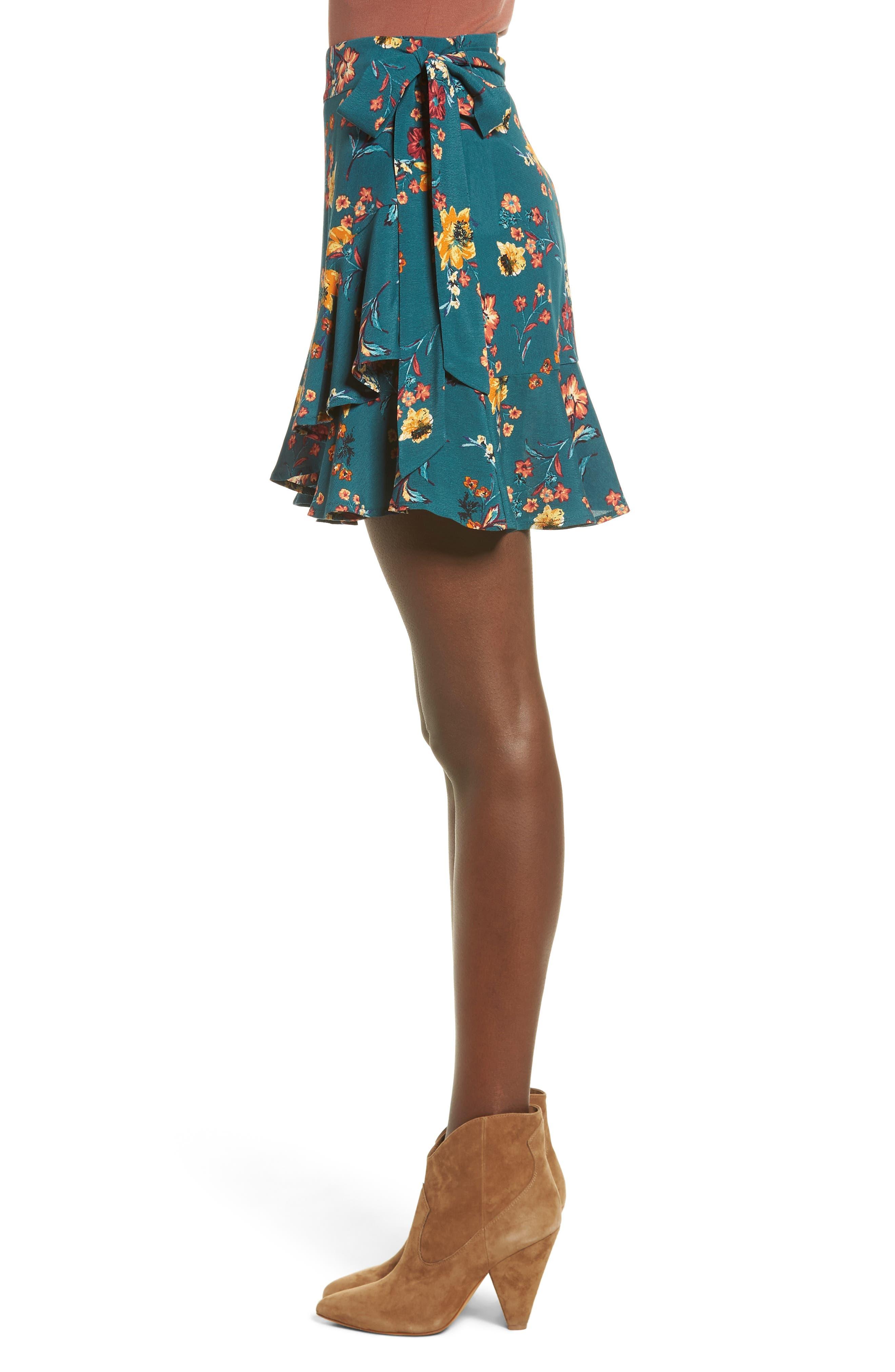 Aviana Ruffle Wrap Skirt,                             Alternate thumbnail 3, color,                             348