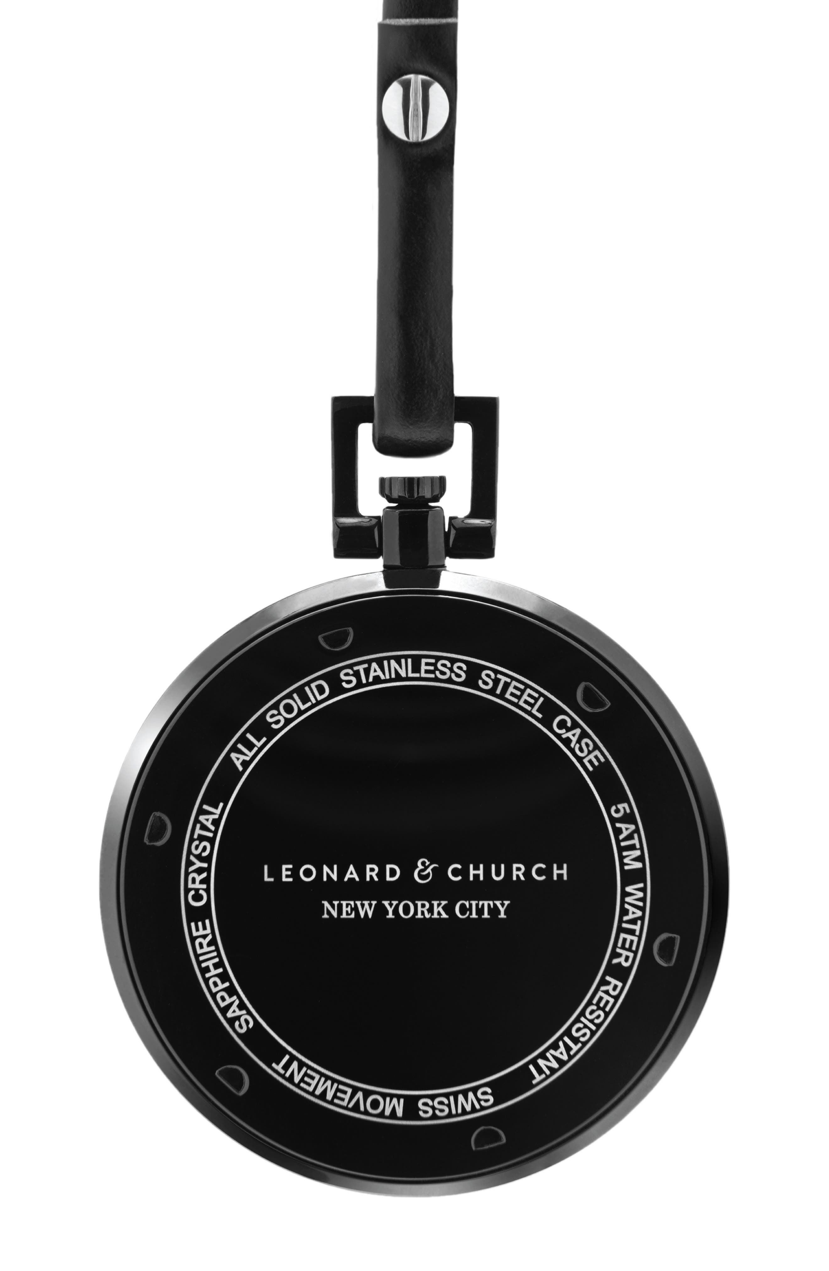 Leonard & Church Prospect Leather Strap Pocket Watch, 48mm,                             Alternate thumbnail 2, color,                             001