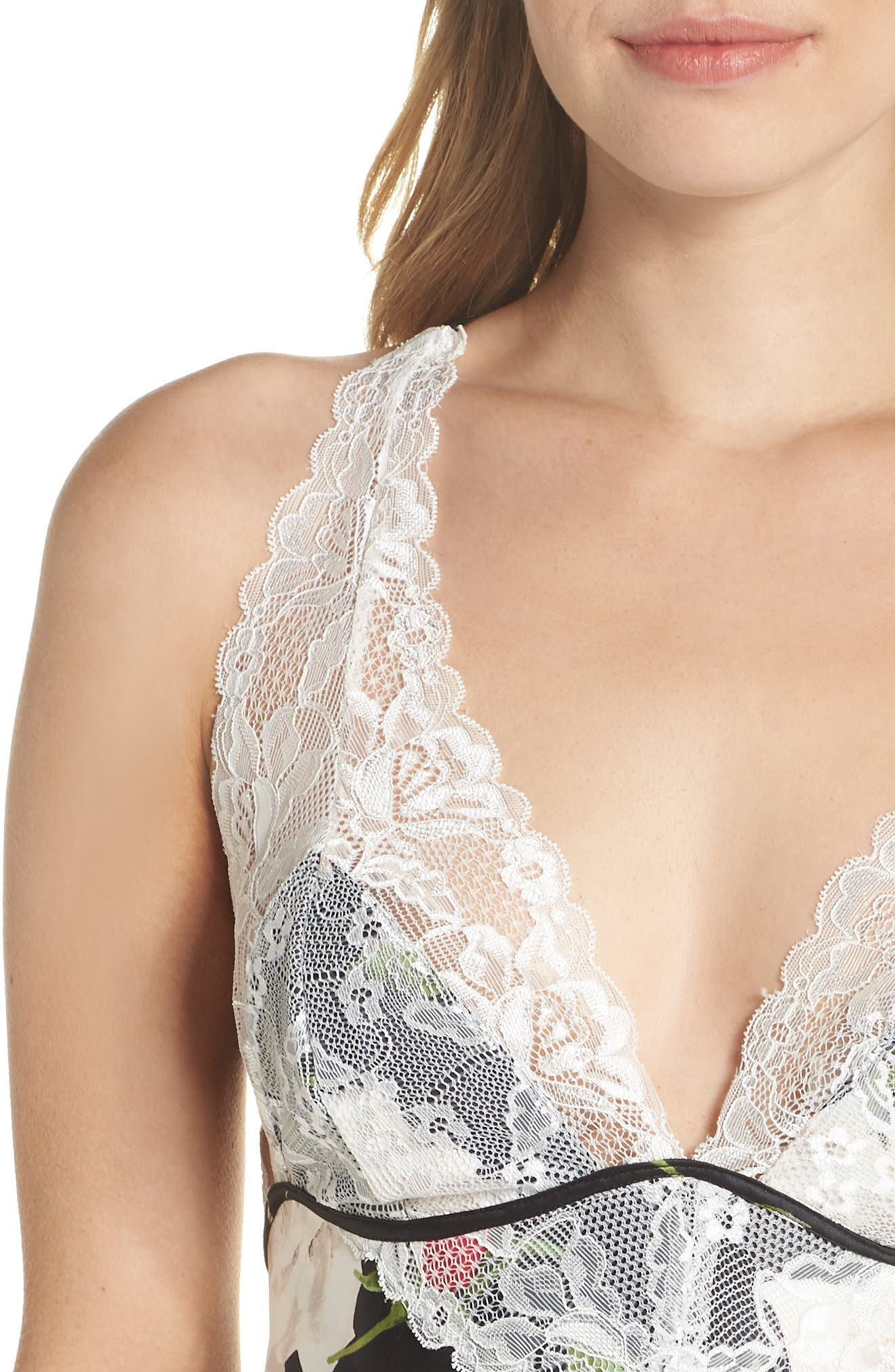 'Muse' Lace & Satin Backless Chemise,                             Alternate thumbnail 4, color,                             WATERCOLOR ROSE