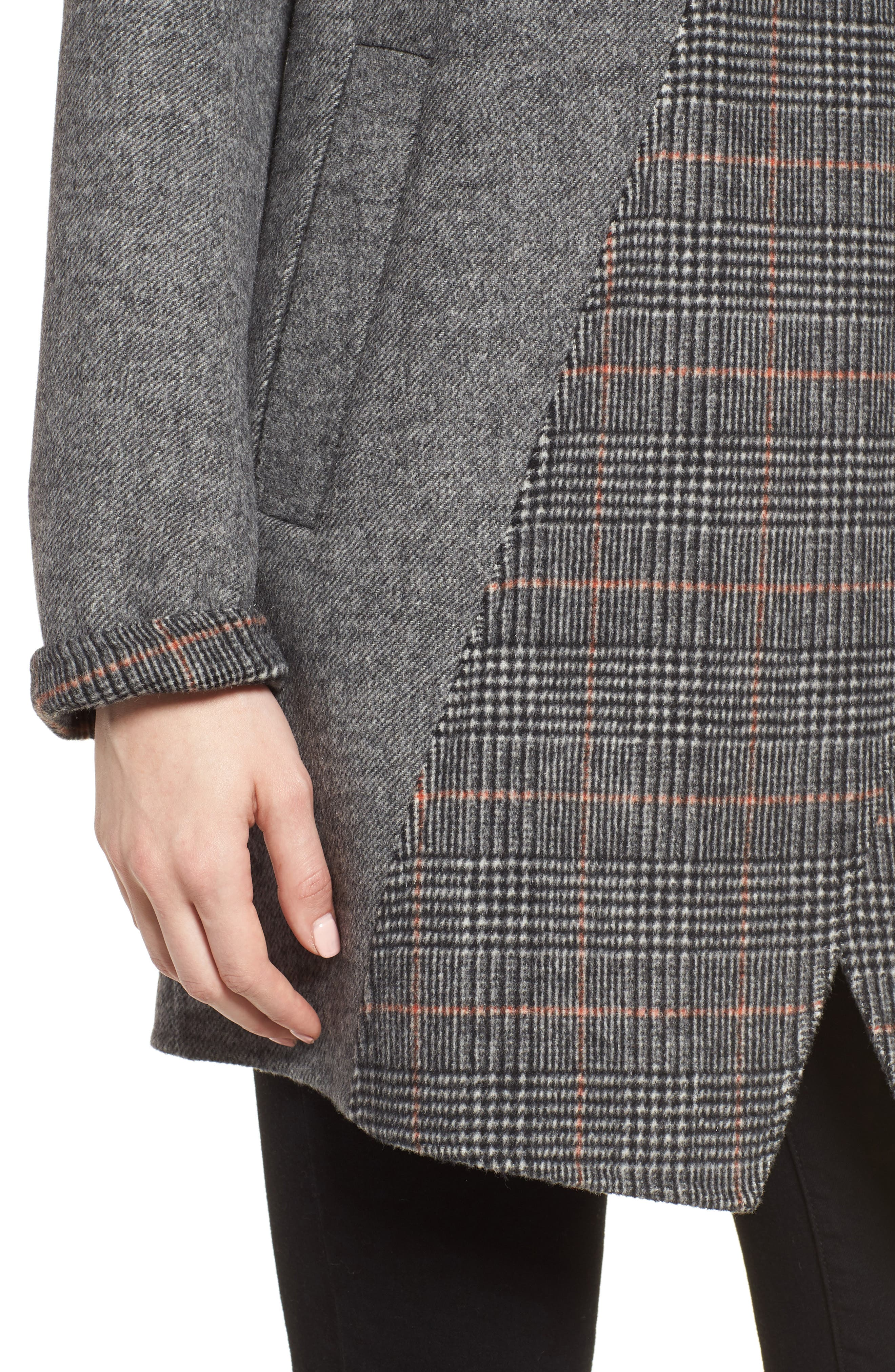 Nicky Double Face Wool Blend Oversize Coat,                             Alternate thumbnail 4, color,                             GREY COMBO TWILL/ PLAID