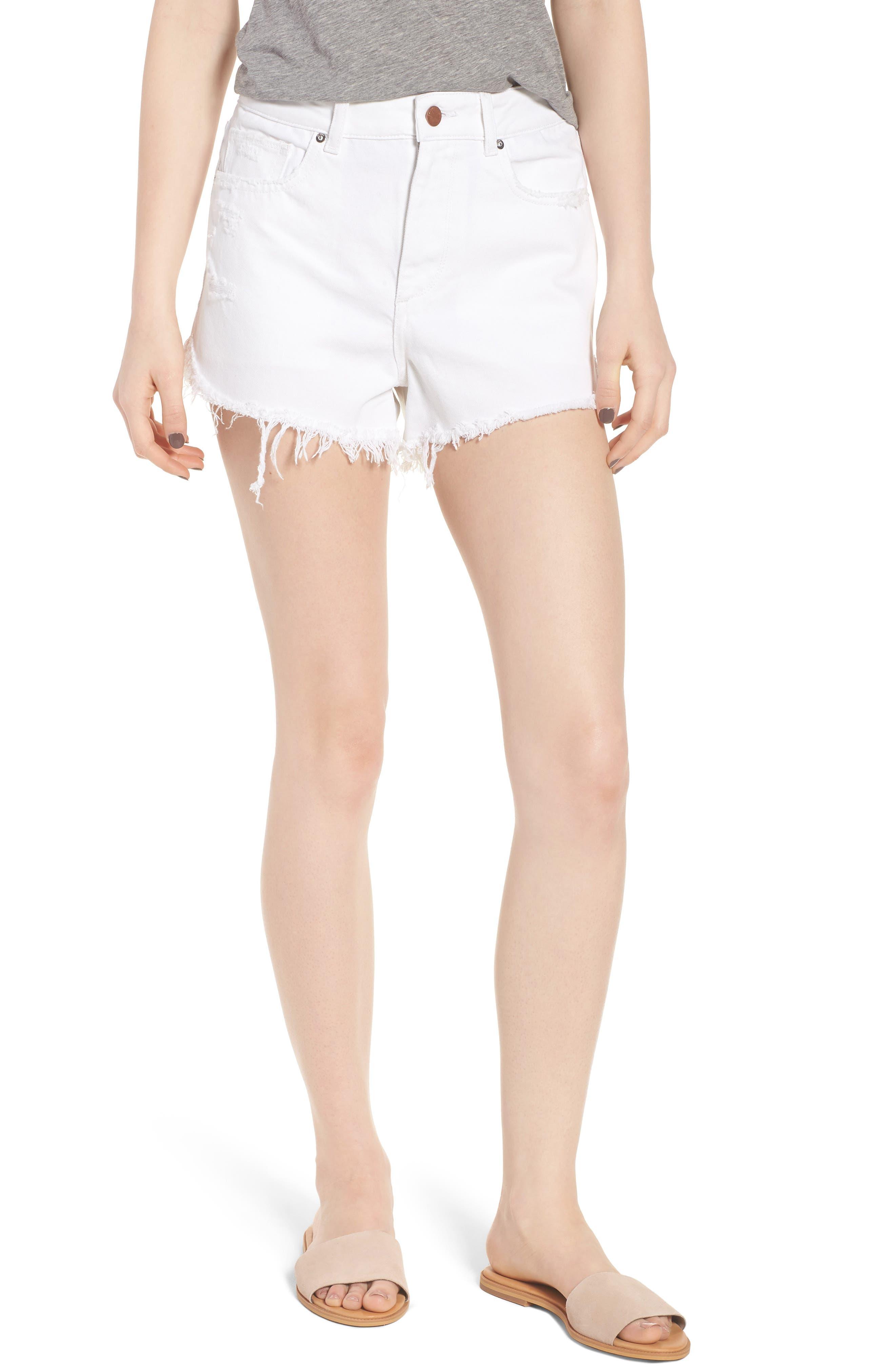 Cleo High Waist Cutoff Dolphin Hem Denim Shorts,                         Main,                         color, 100
