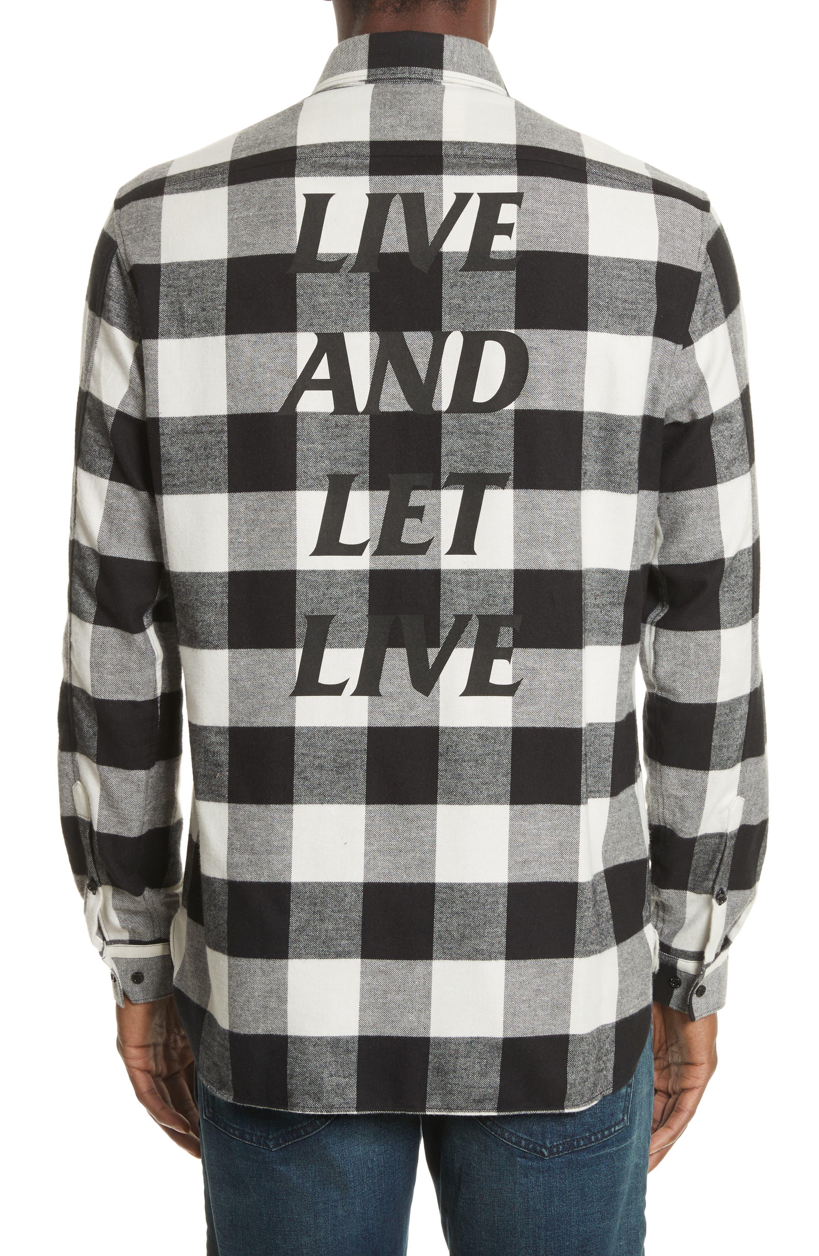 Live and Let Live Plaid Flannel Sport Shirt,                             Alternate thumbnail 3, color,                             001