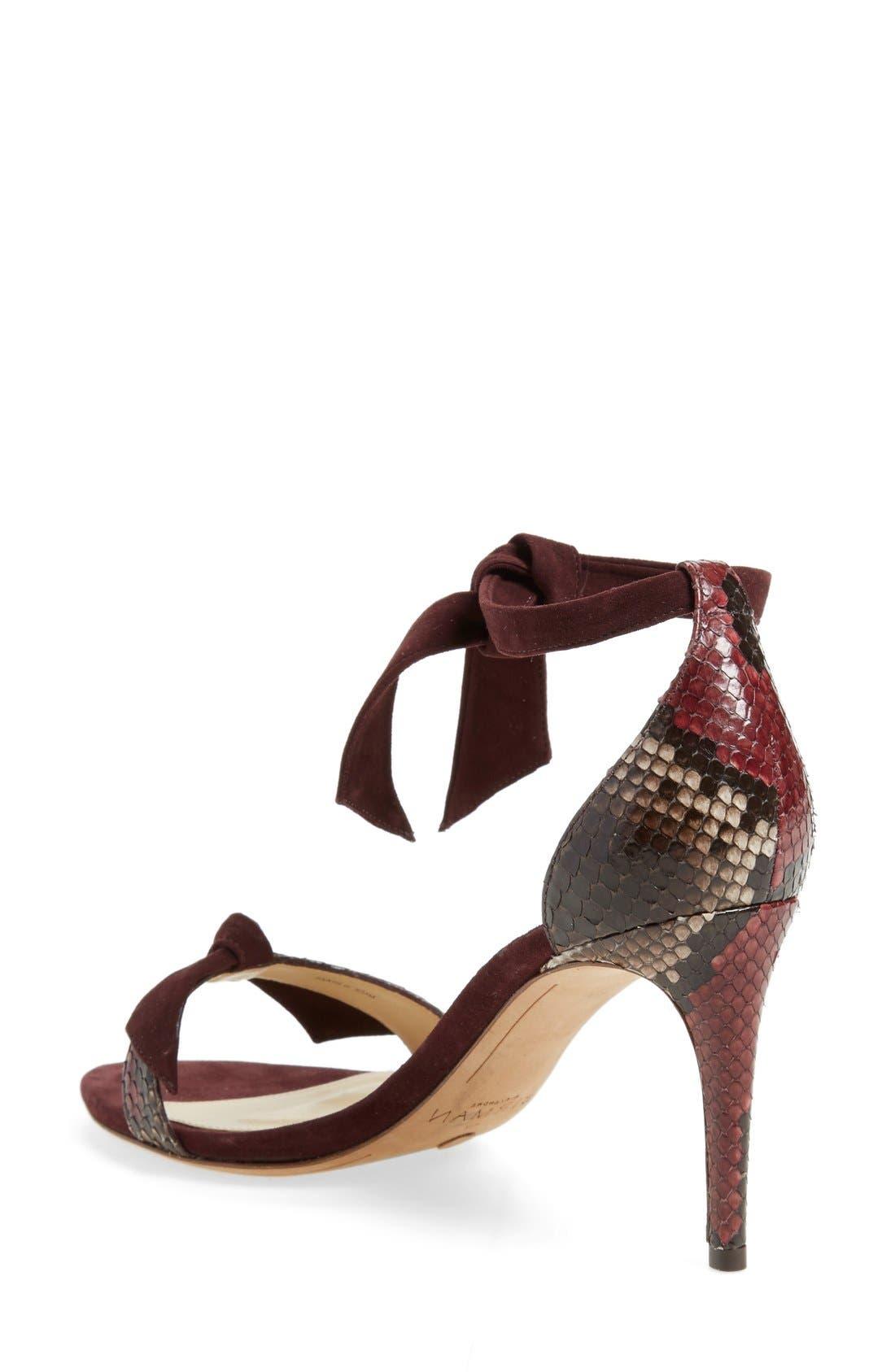 'Clarita' Suede & Genuine Python Ankle Tie Sandal,                             Alternate thumbnail 2, color,                             930