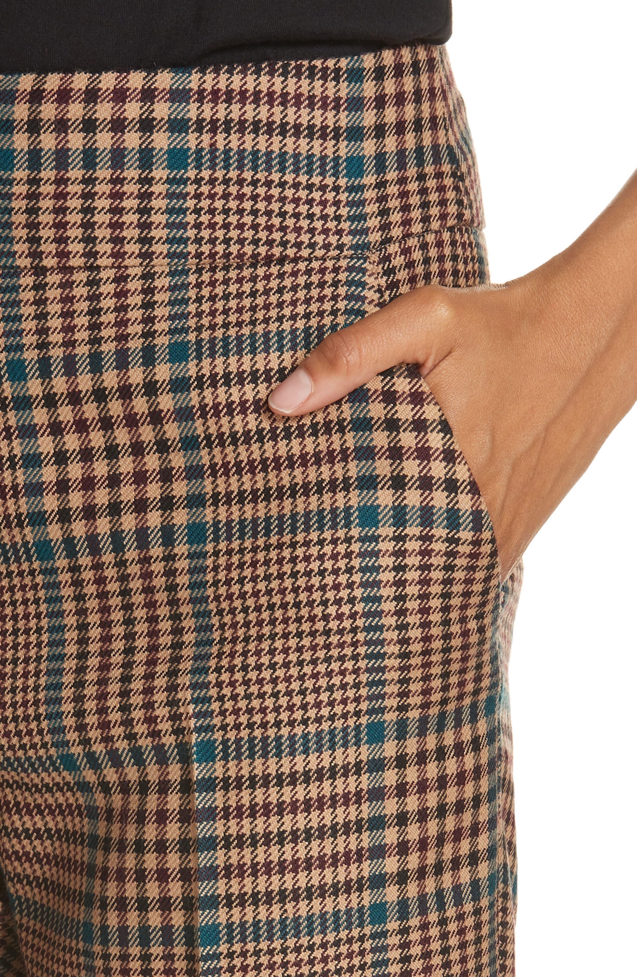 Cormac Plaid Wool Blend Trousers,                             Alternate thumbnail 4, color,                             230