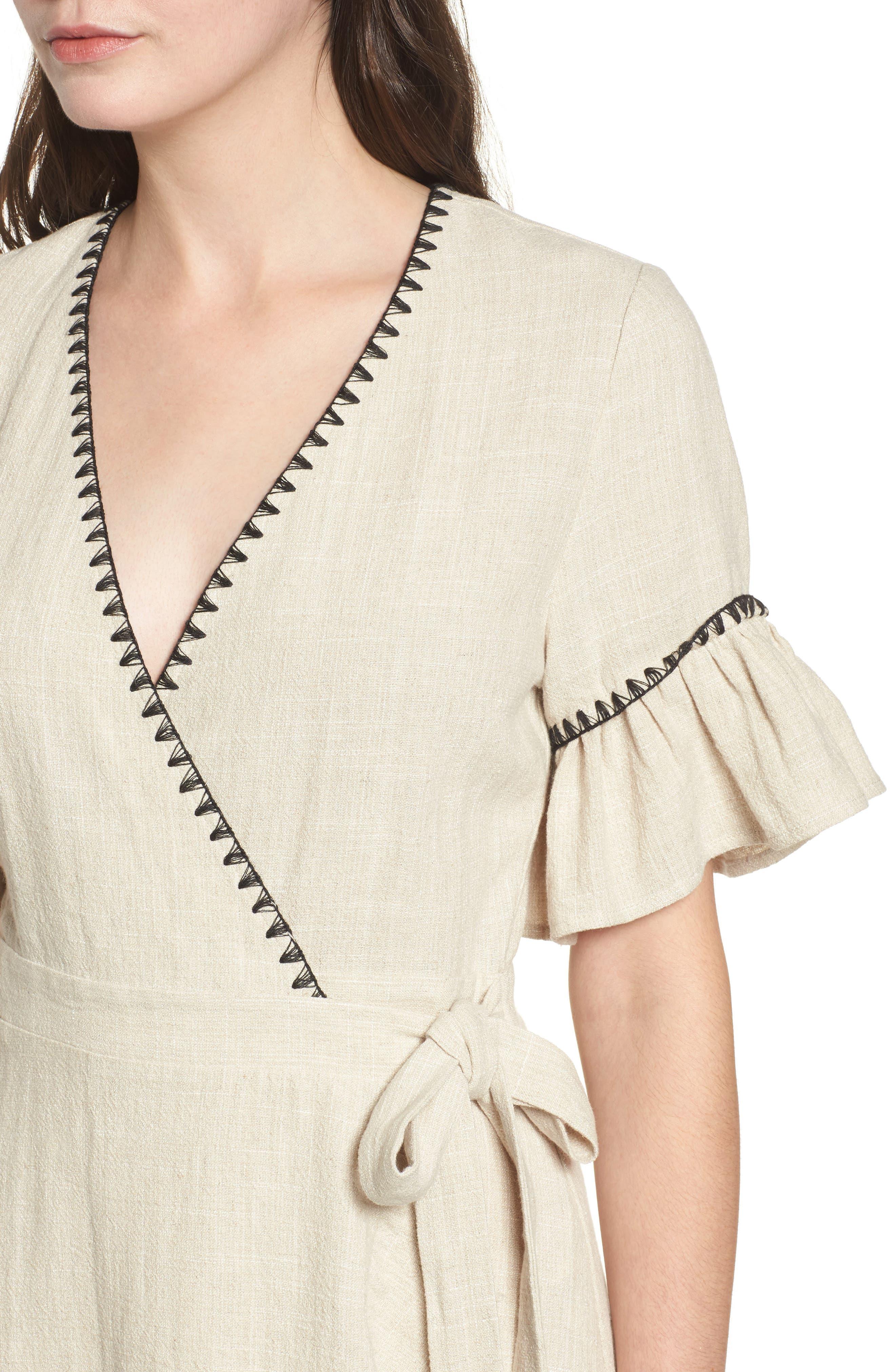 Blanket Stitch Wrap Dress,                             Alternate thumbnail 8, color,
