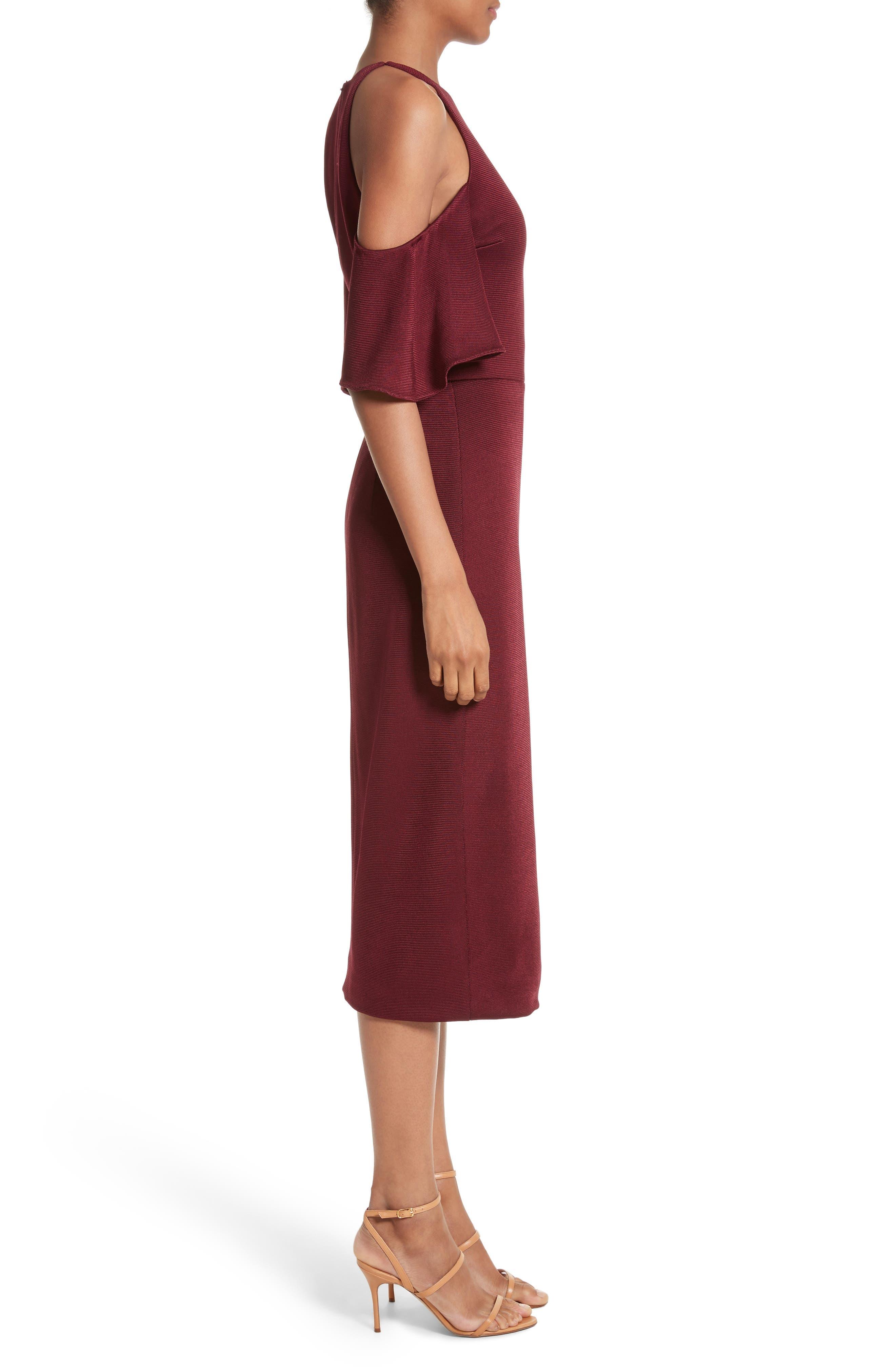 Flutter Sleeve Cold Shoulder Pencil Dress,                             Alternate thumbnail 3, color,                             932