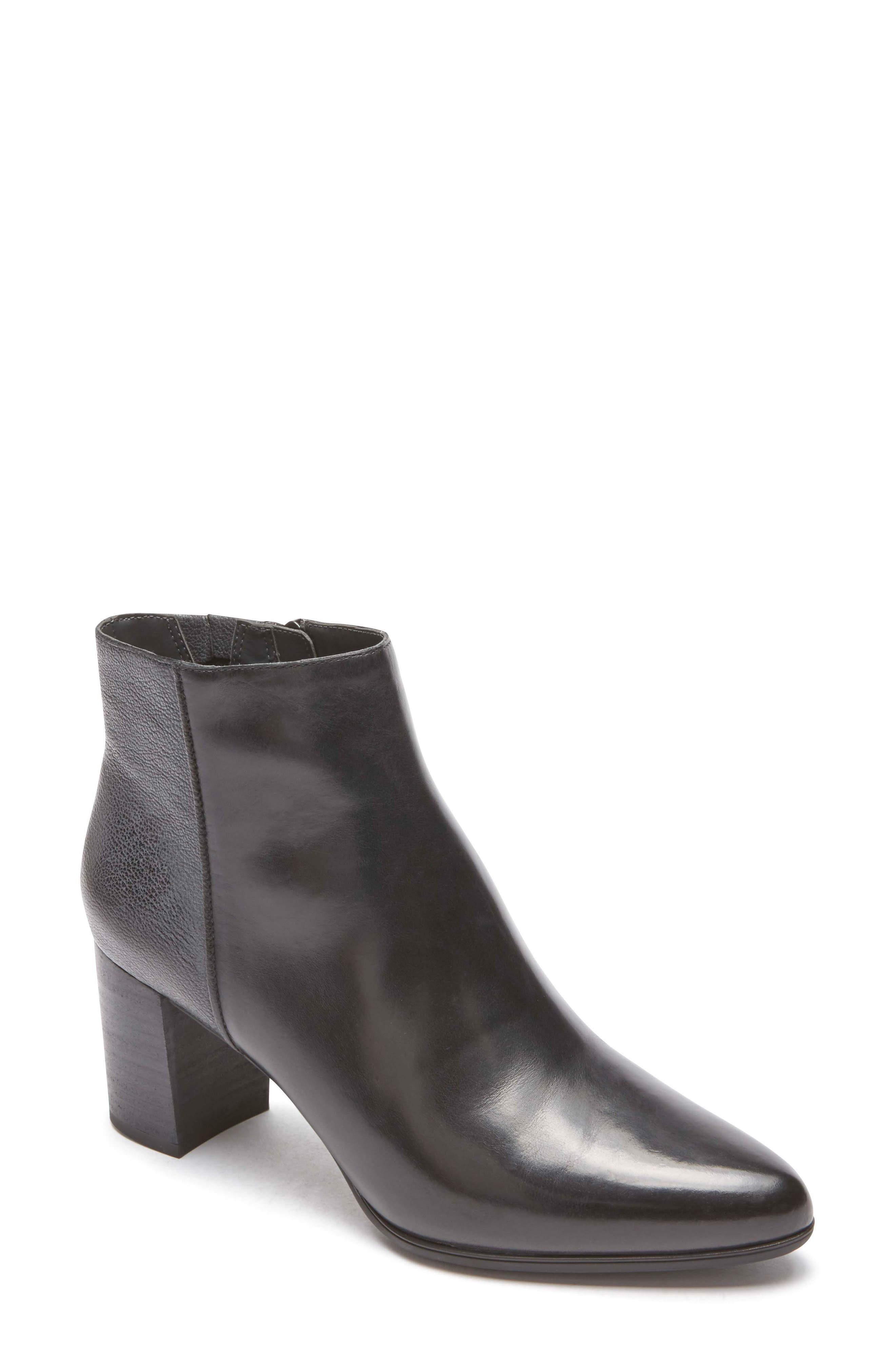 Lynix Luxe Bootie,                             Main thumbnail 1, color,                             BLACK LEATHER