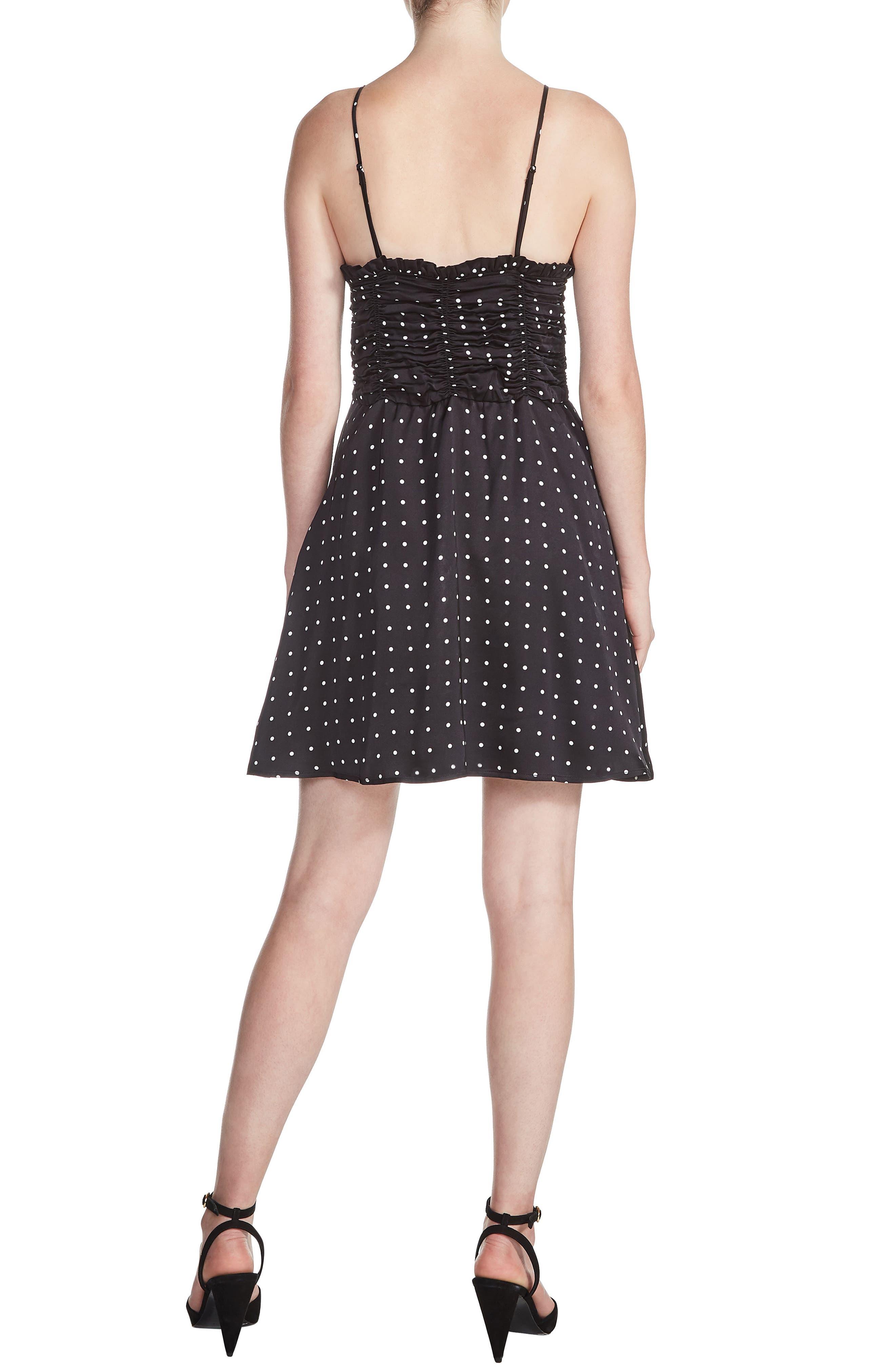 Renota Polka Dot Fit & Flare Dress,                             Alternate thumbnail 2, color,                             001