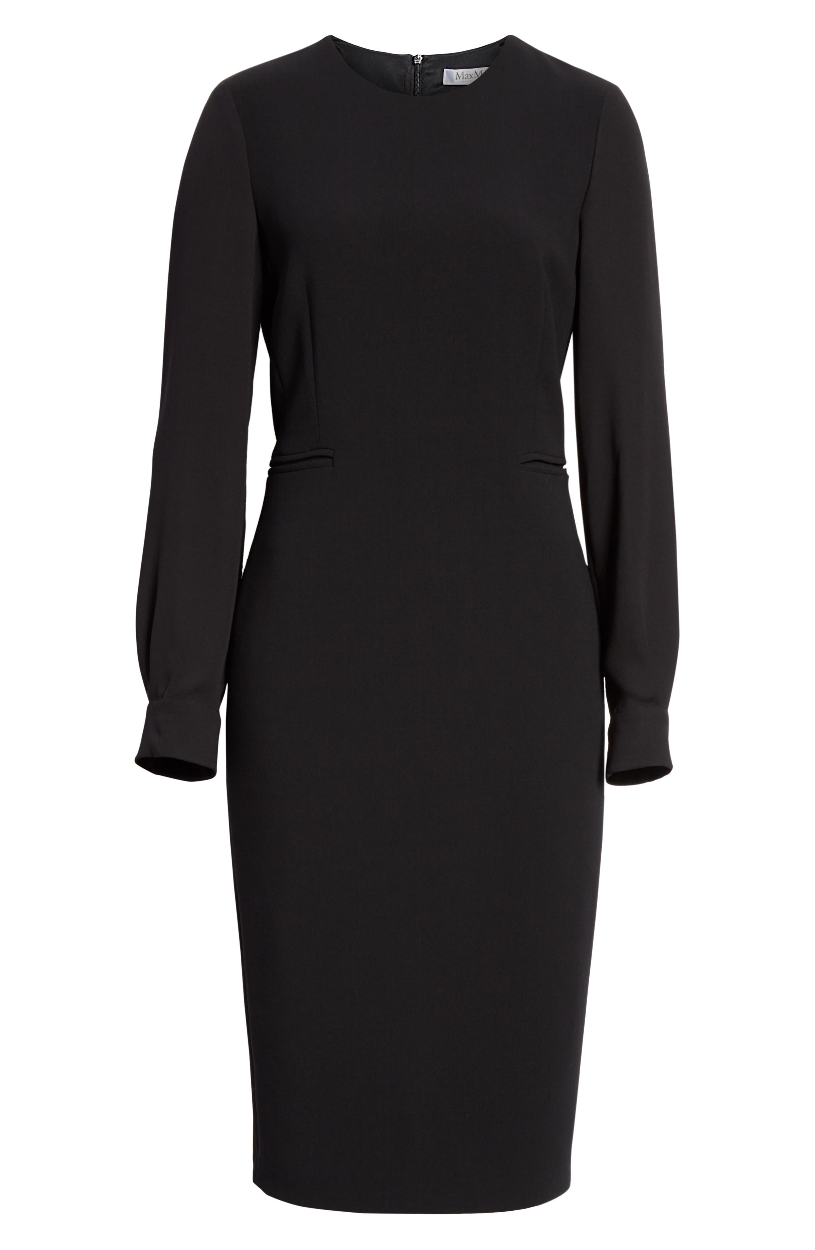 Ottelia Stretch Wool Sheath Dress,                             Alternate thumbnail 6, color,                             BLACK