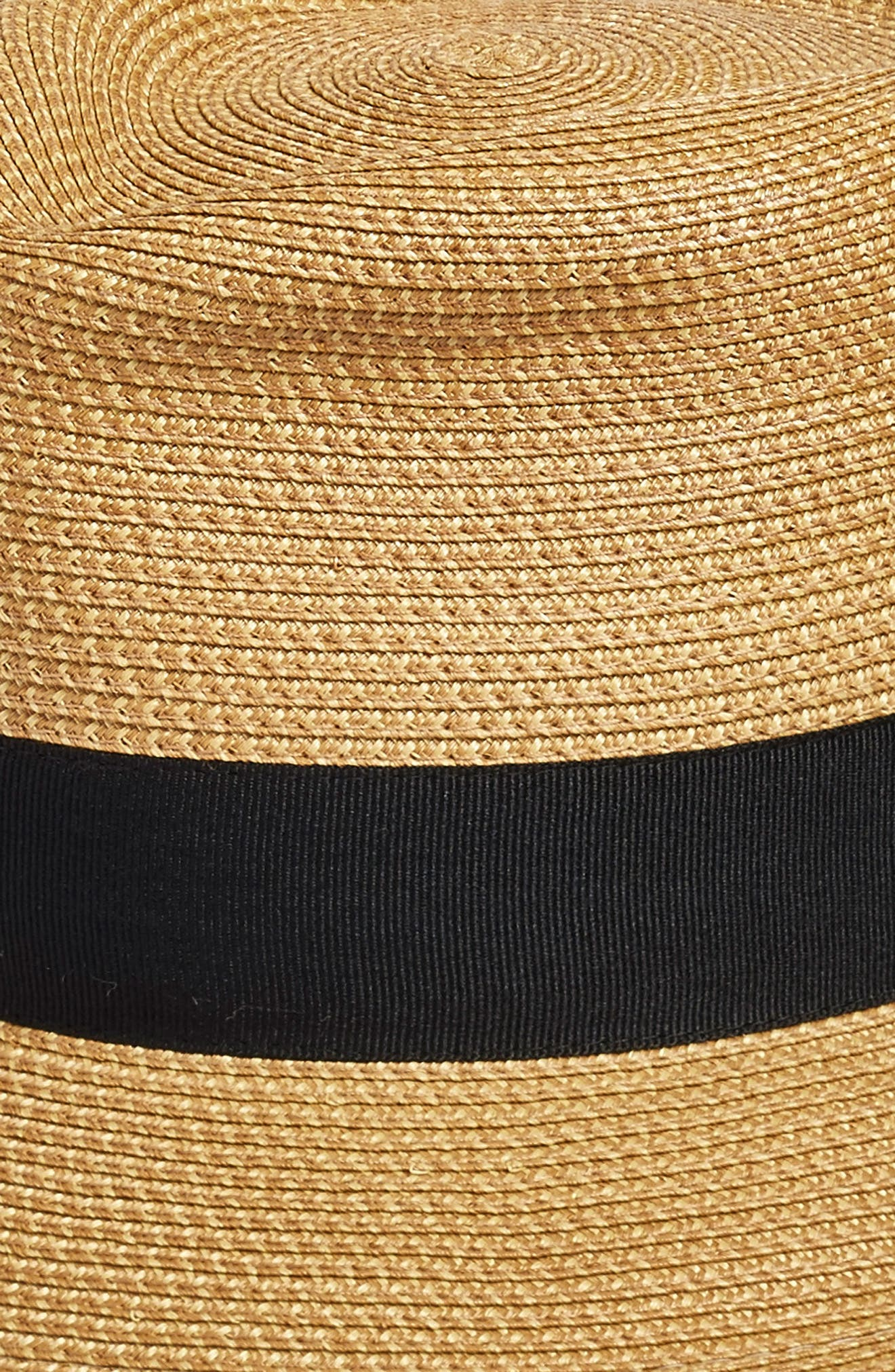'Classic' Squishee<sup>®</sup> Packable Fedora Sun Hat,                             Alternate thumbnail 4, color,                             NATURAL/ BLACK