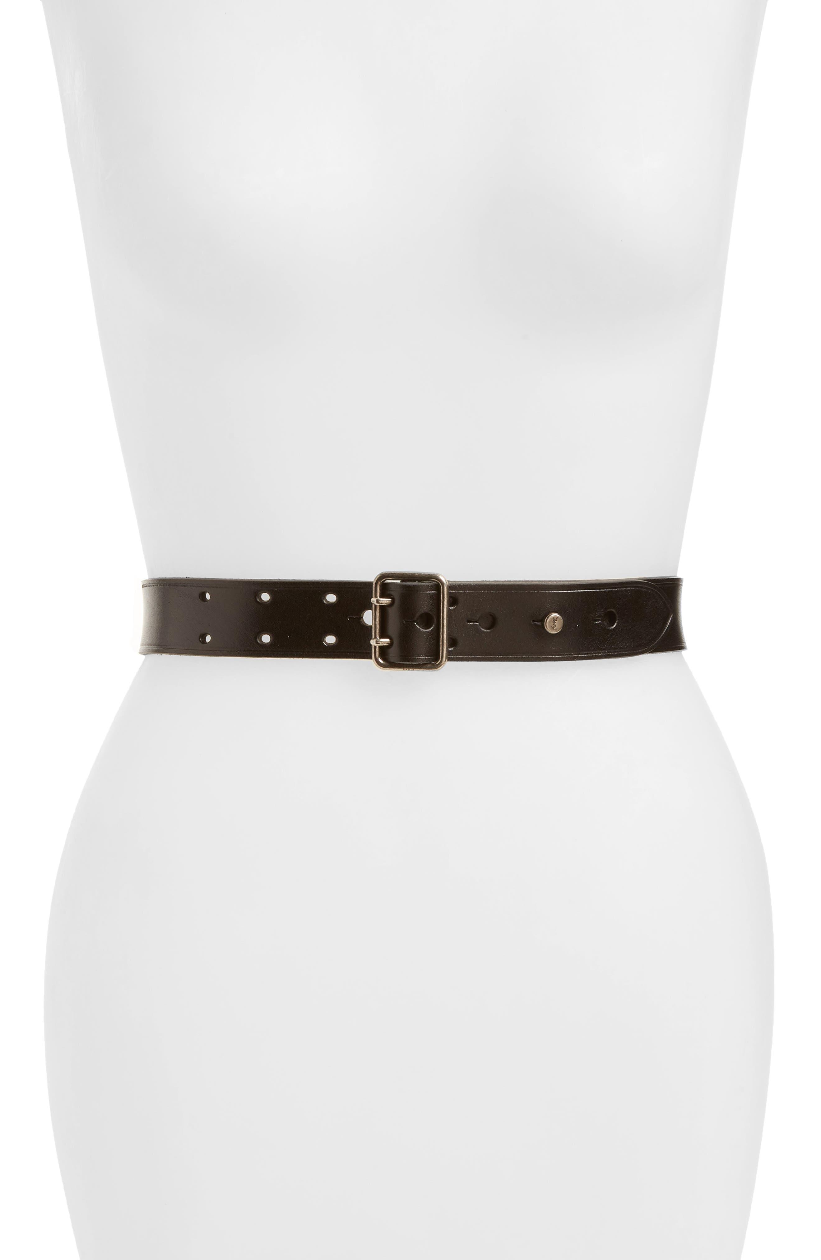 Fetiche Leather Belt,                             Main thumbnail 1, color,                             BLACK
