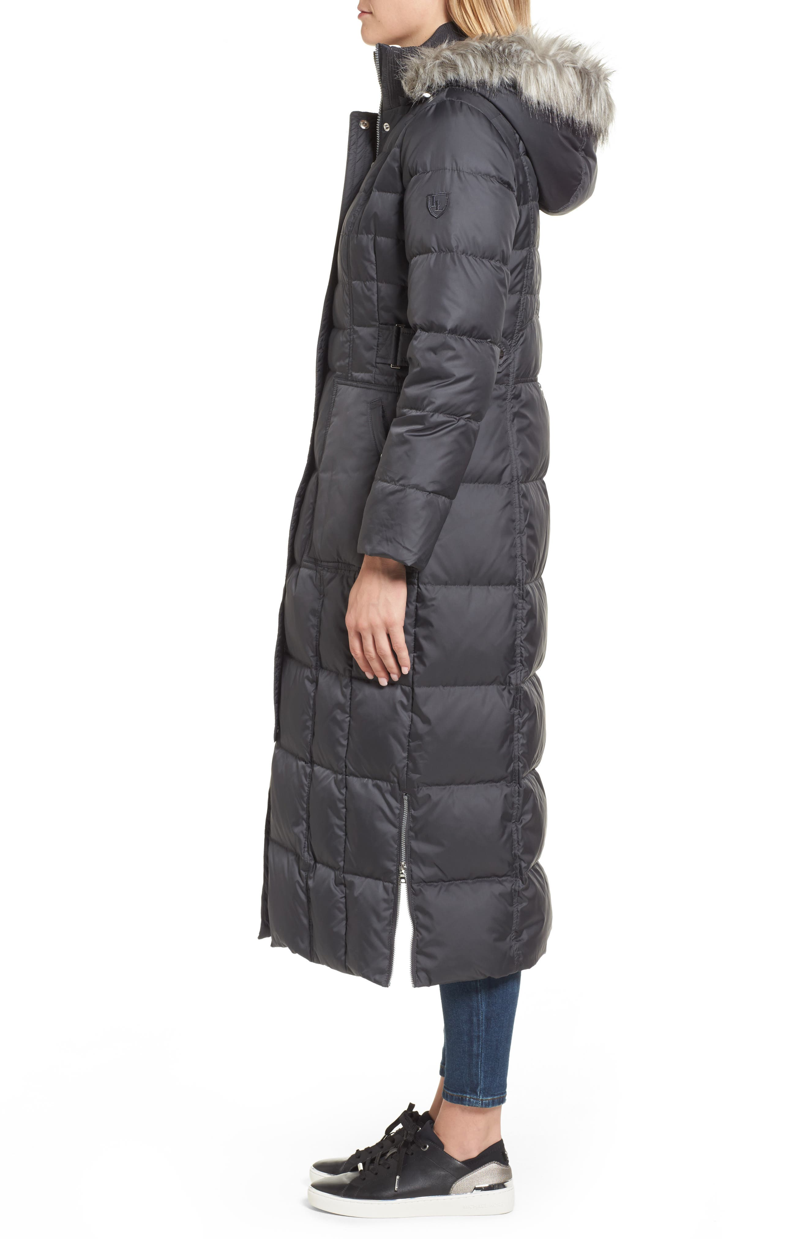 Quilted Maxi Coat with Faux Fur Trim,                             Alternate thumbnail 3, color,                             037