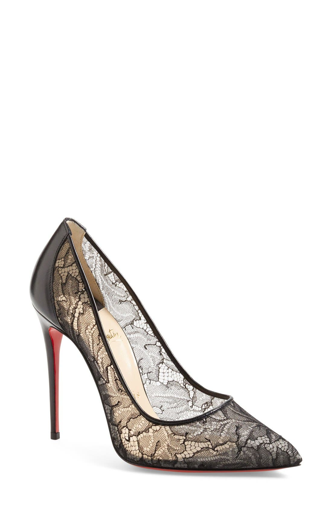 'Follies' Lace Pointy Toe Pump, Main, color, 001