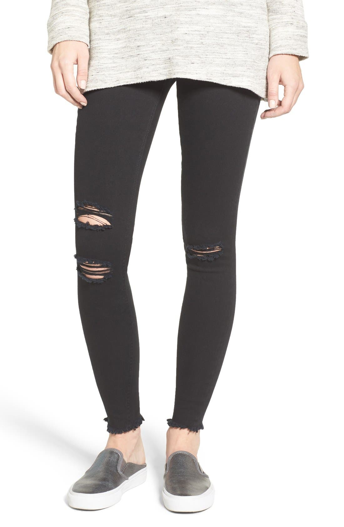 Ripped Denim Leggings,                             Main thumbnail 1, color,                             001