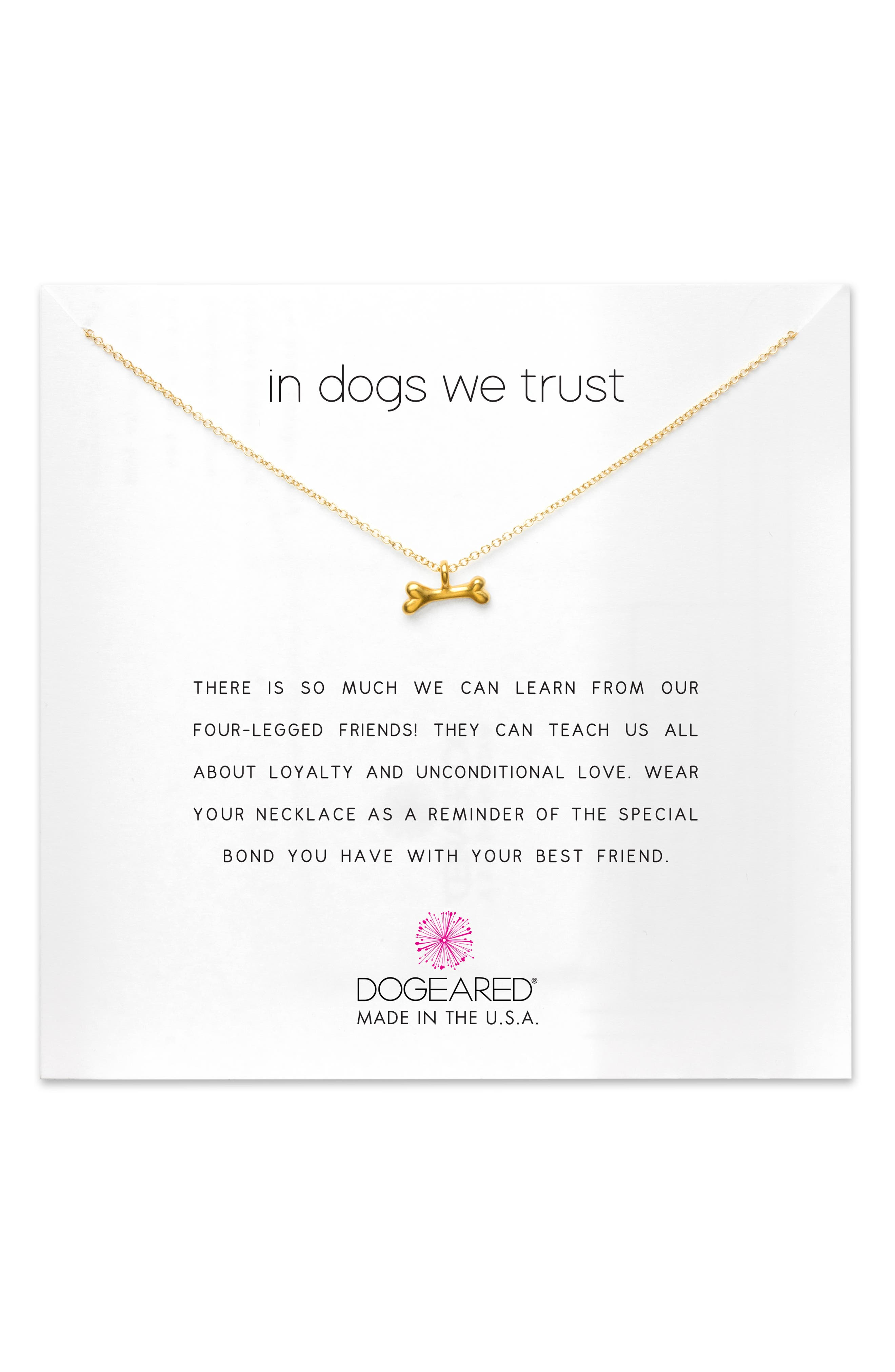 In Dogs We Trust Pendant Necklace,                             Main thumbnail 1, color,                             GOLD