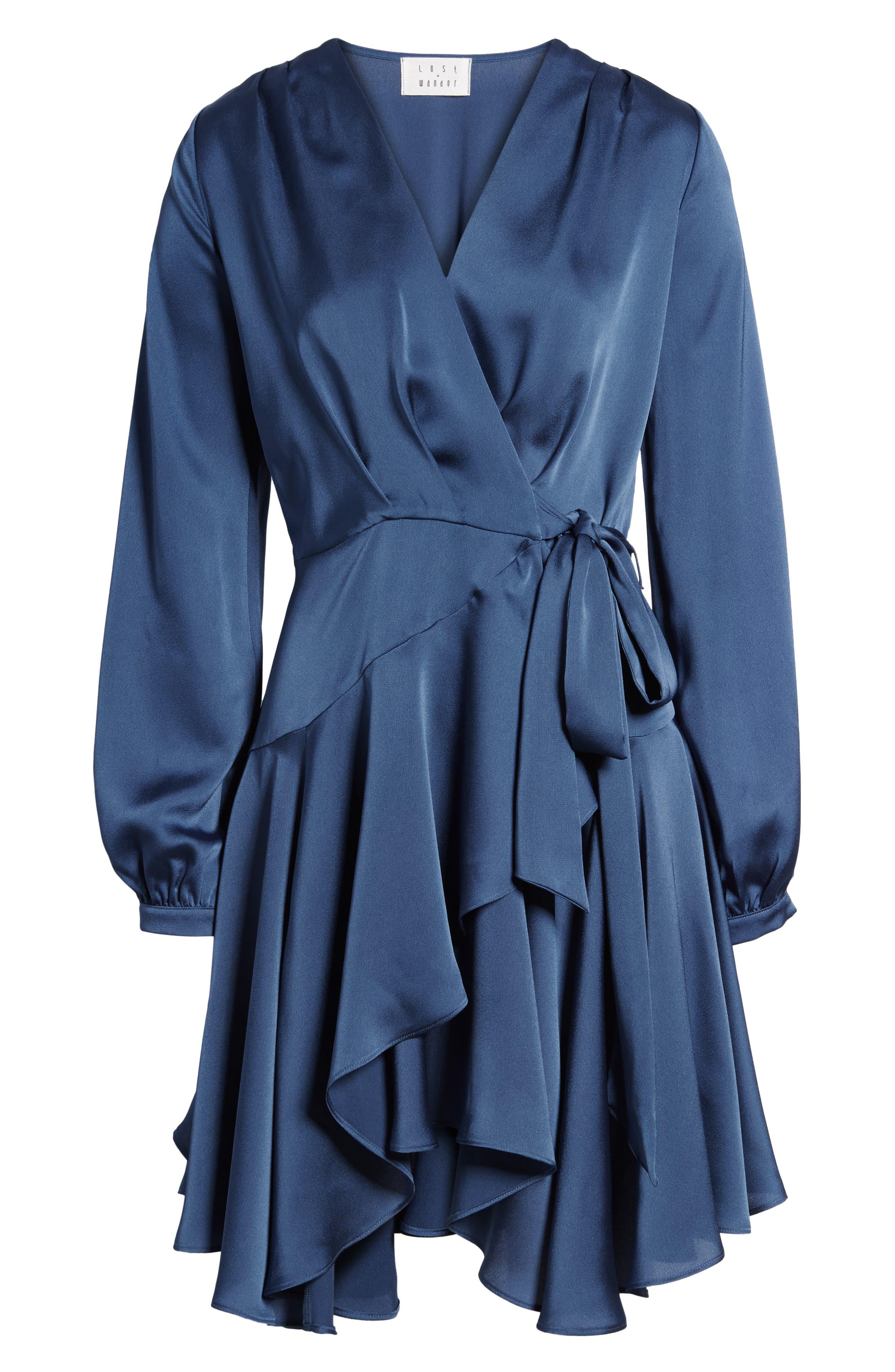 Elsa Satin Ruffle Wrap Minidress,                             Alternate thumbnail 7, color,                             420
