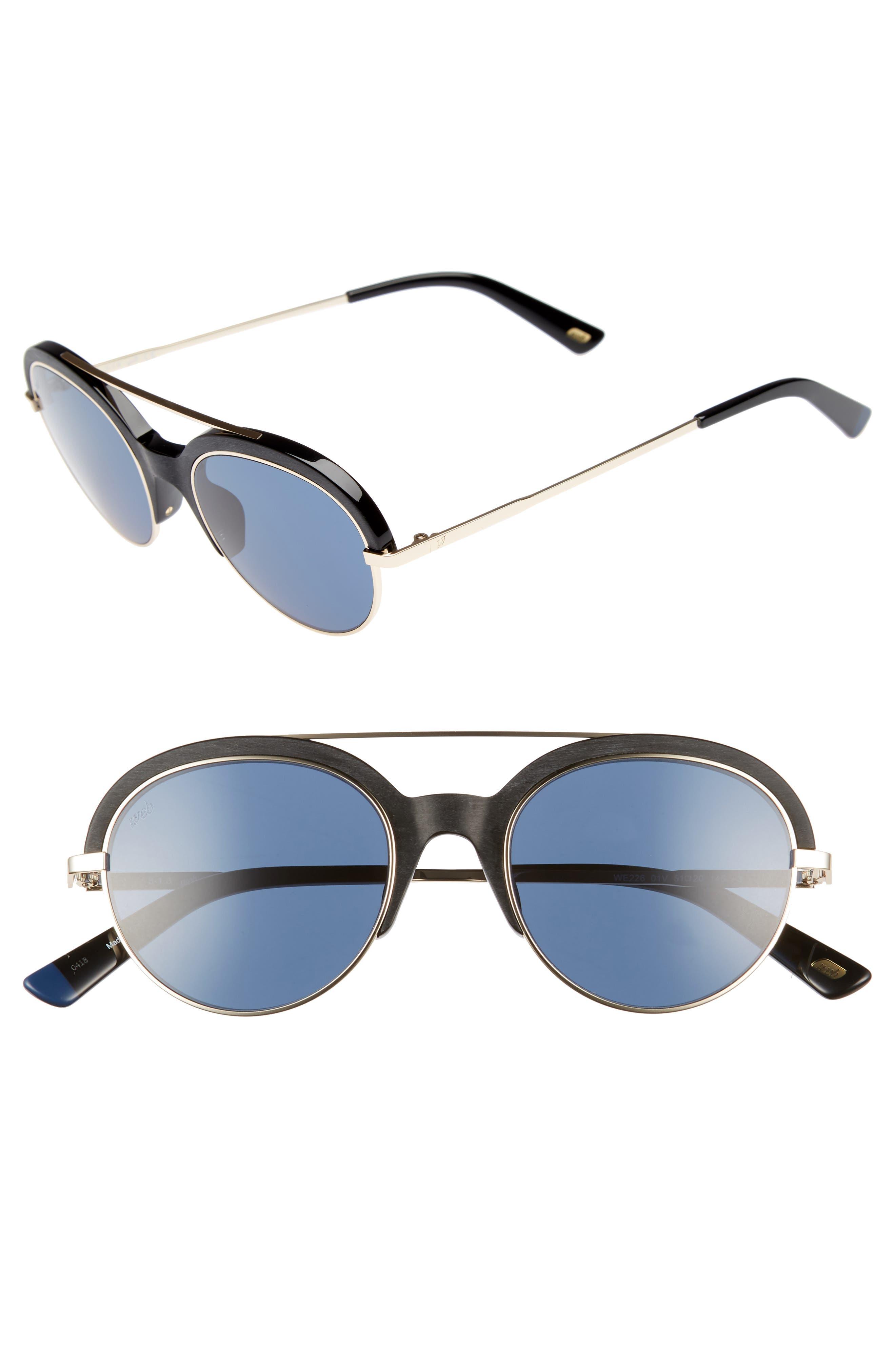WEB,                             51mm Aviator Sunglasses,                             Main thumbnail 1, color,                             SHINY BLACK/ BLUE