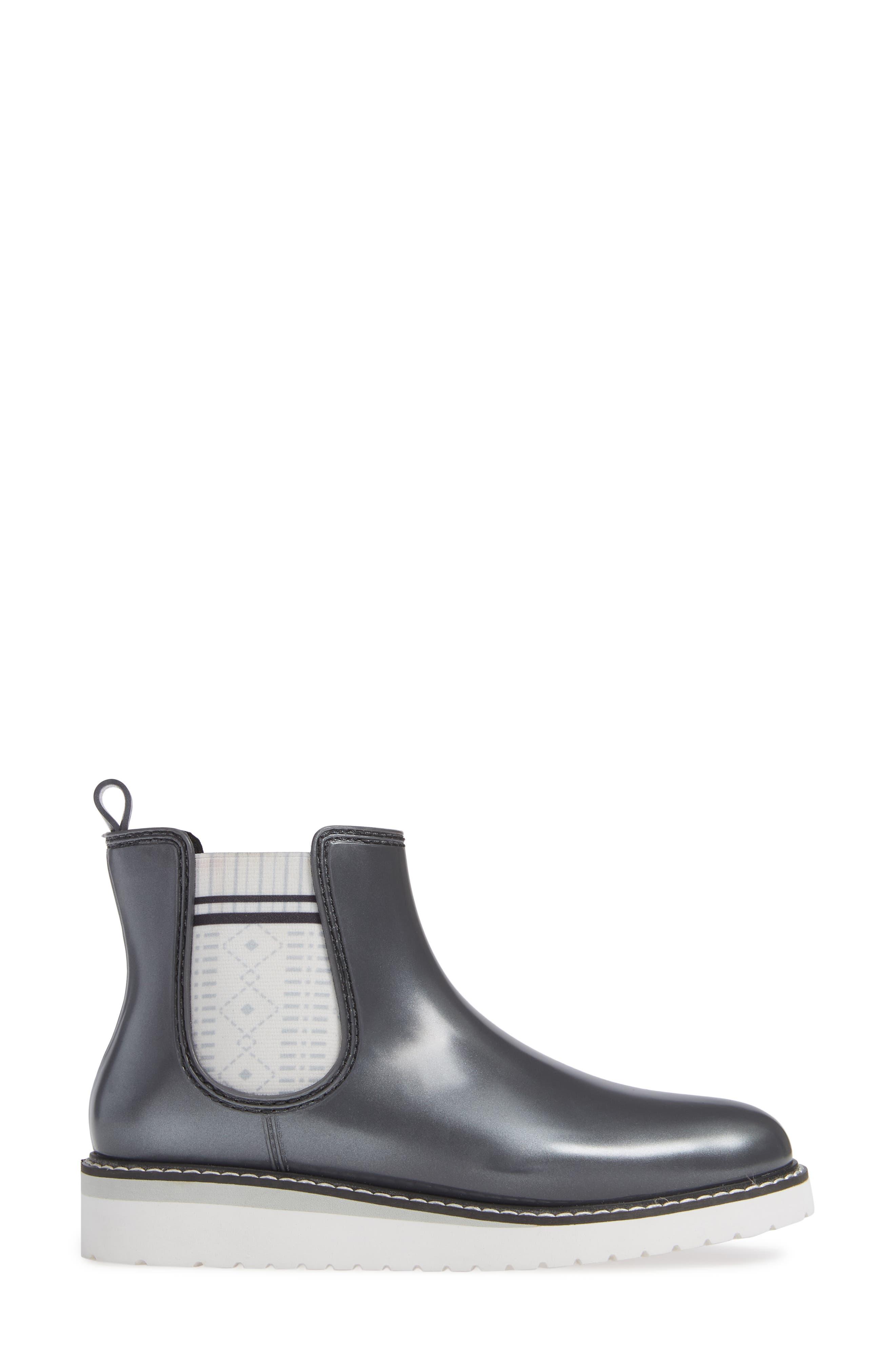 Kensington Chelsea Rain Boot,                             Alternate thumbnail 3, color,                             SILVER METALLIC