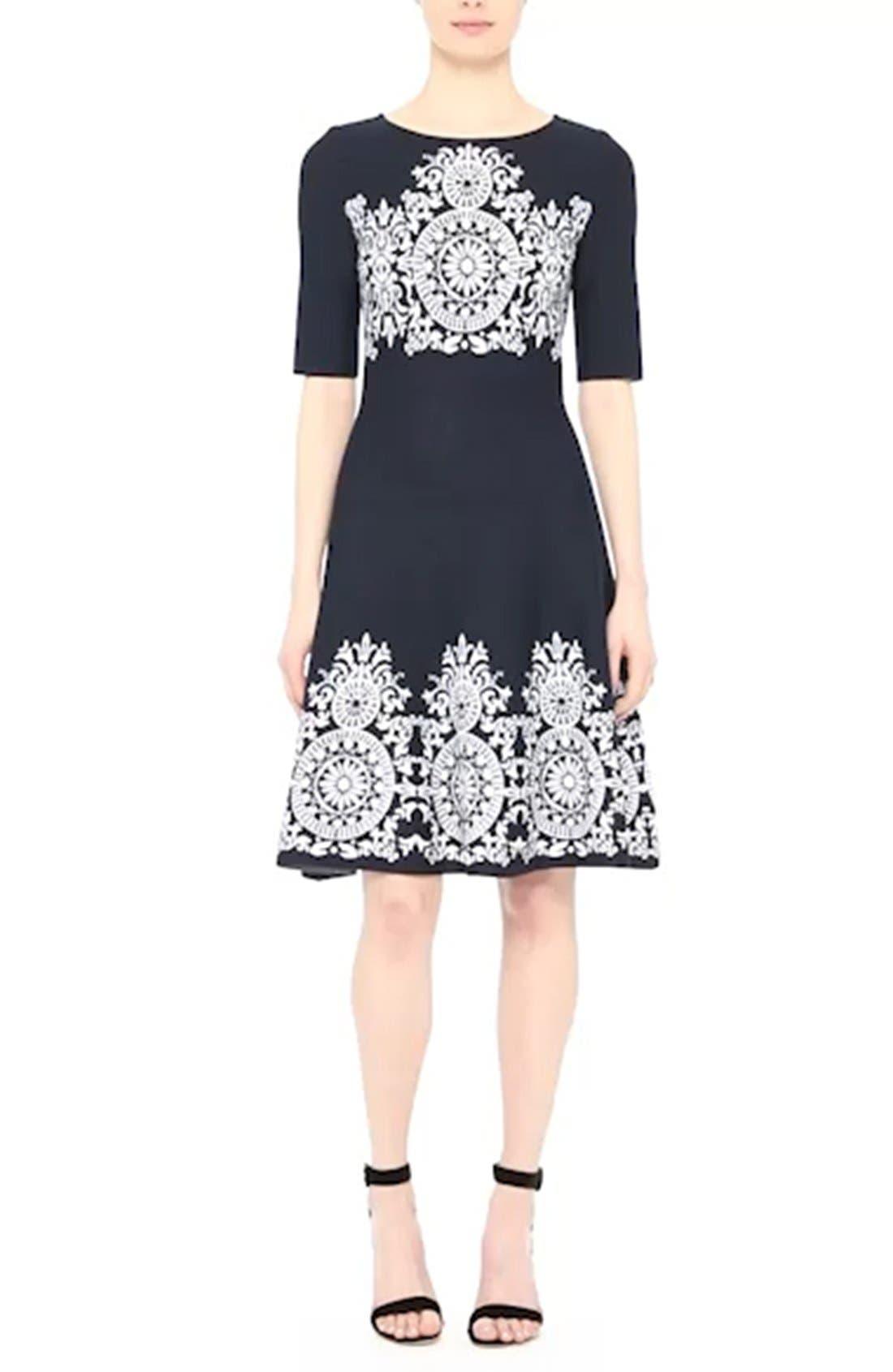 Nellore Jacquard Knit Fit & Flare Dress,                             Alternate thumbnail 7, color,                             410