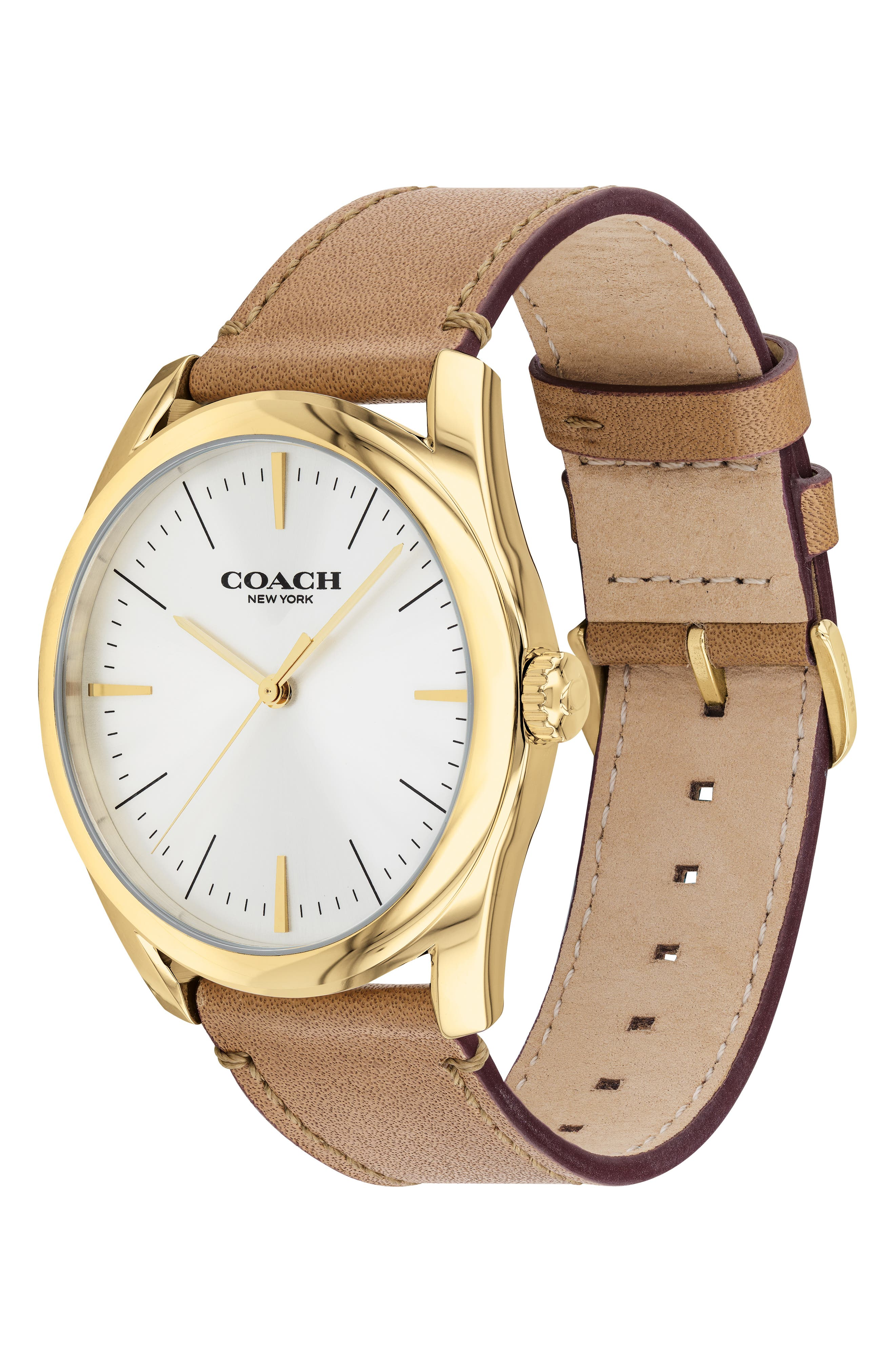 Preston Leather Strap Watch, 41mm,                             Alternate thumbnail 3, color,                             CAMEL/ GOLD/ SILVER