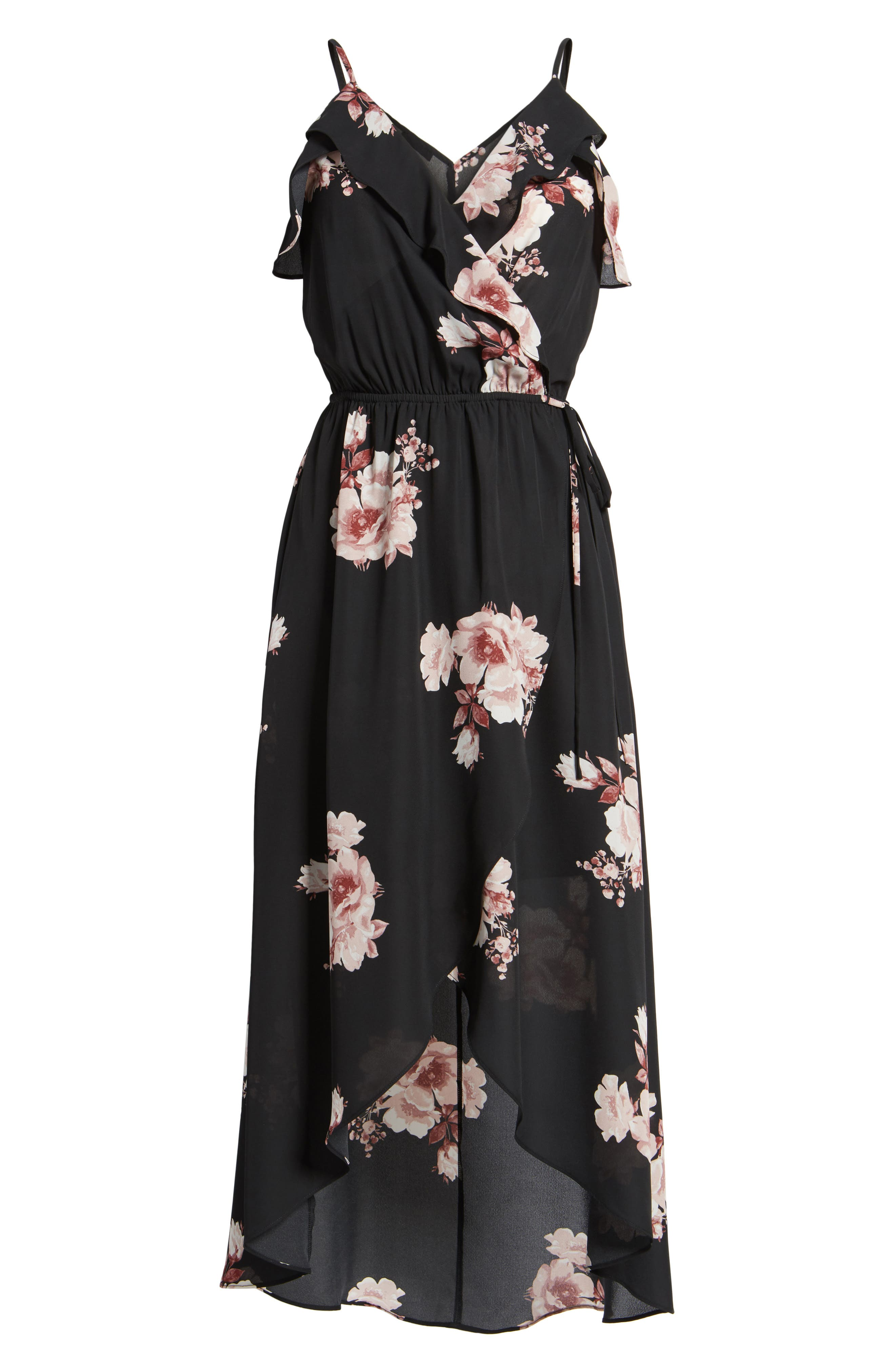Ruffle Surplice Dress,                             Alternate thumbnail 6, color,                             002