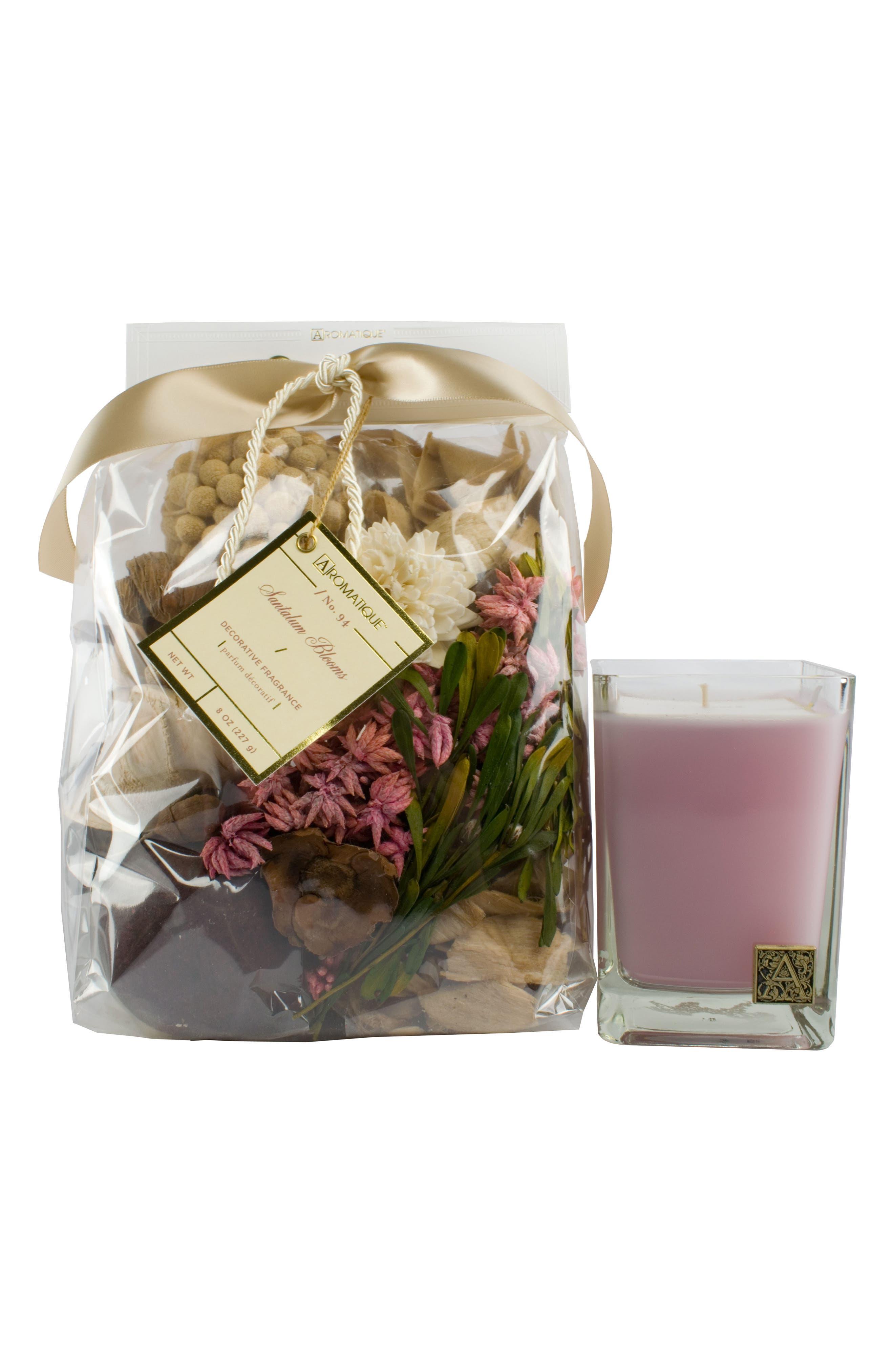 Fragrance Bag & Glass Cube Candle,                             Main thumbnail 1, color,                             SANTALUM BLOOMS