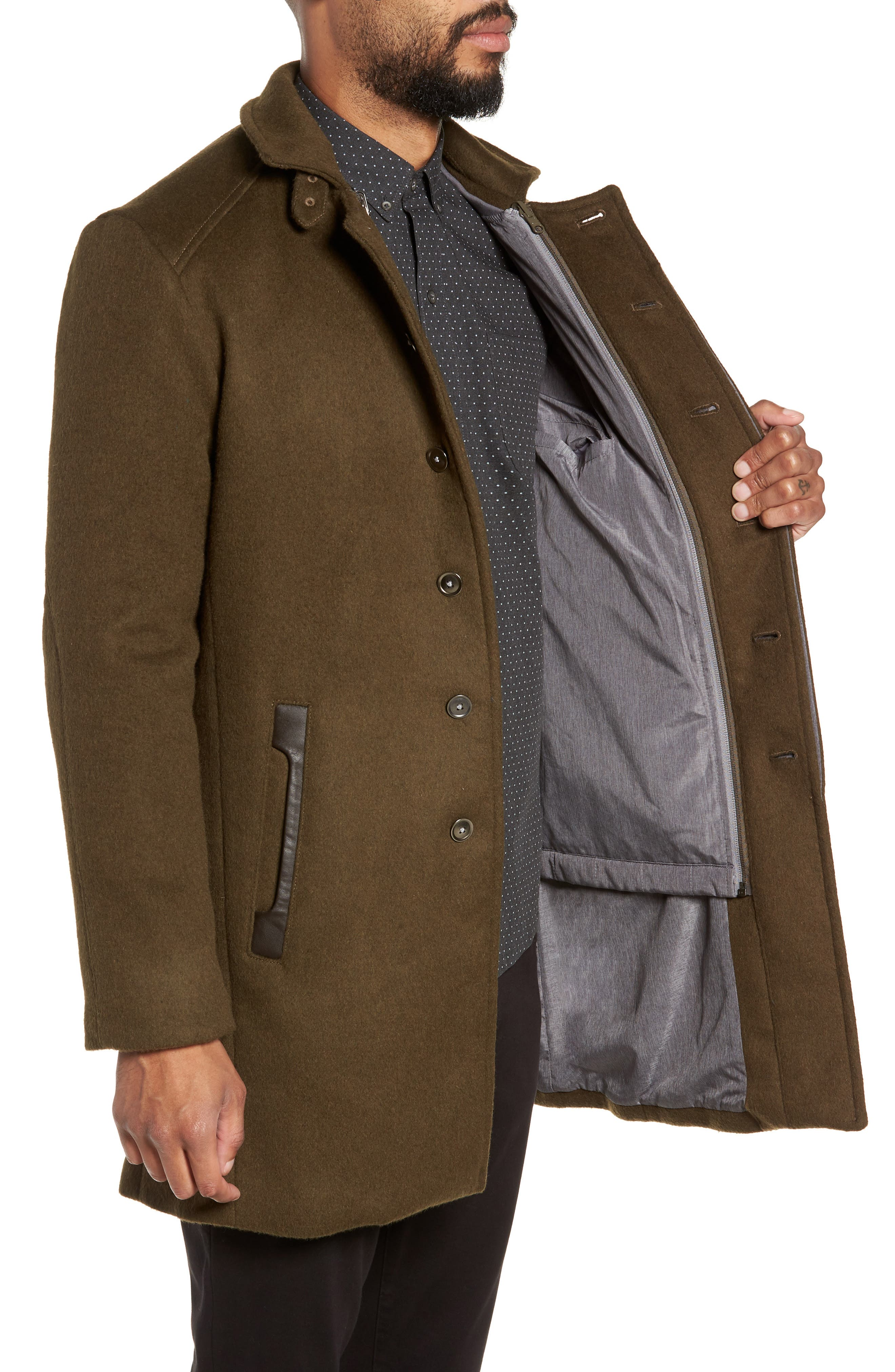 Kilo 3-in-1 Peacoat with Removable Quilted Jacket,                             Alternate thumbnail 4, color,                             OLIVE
