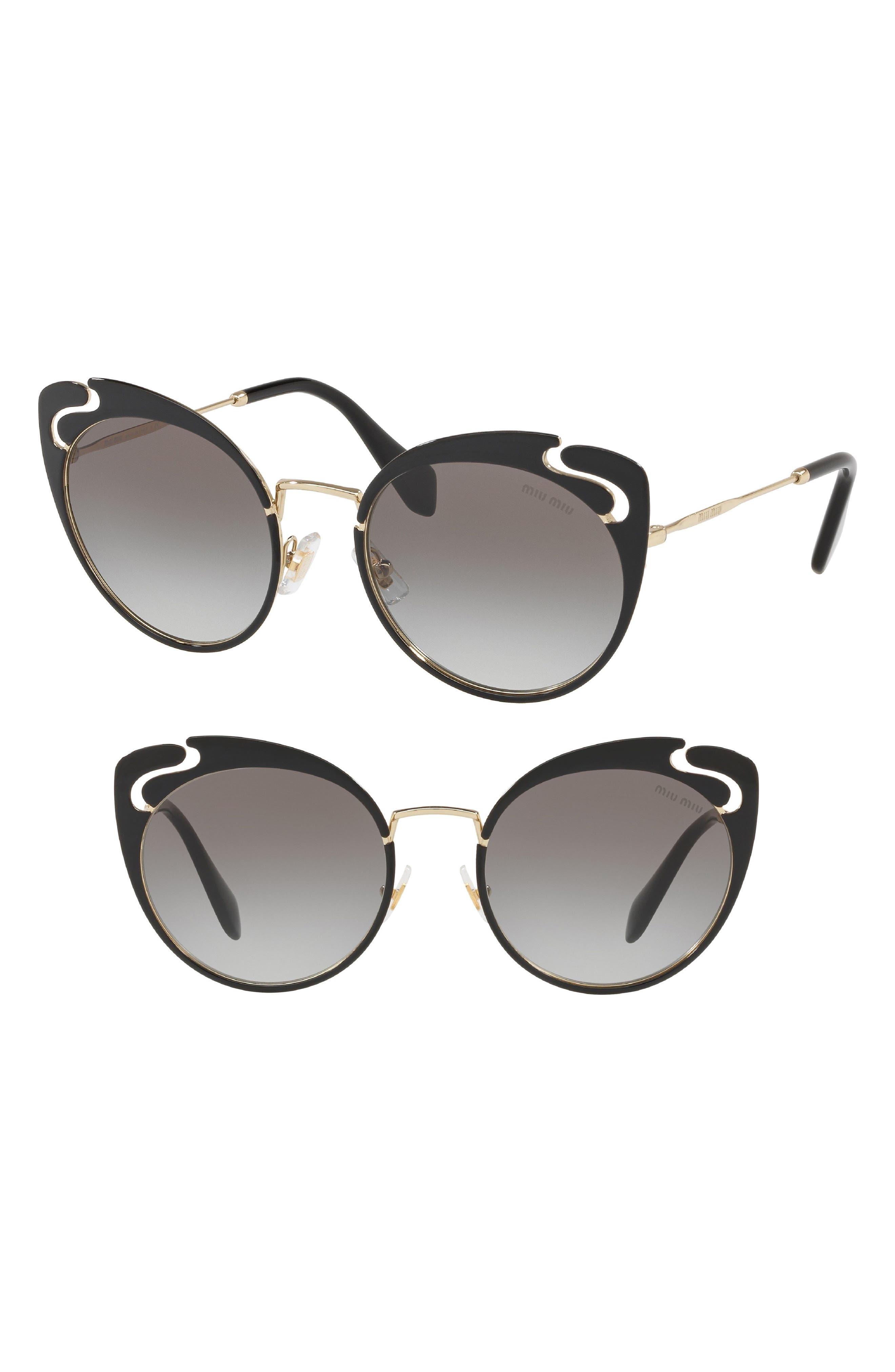 Miu Miu Noir Evolution 5m Cat Eye Sunglasses - Gold/ Black Gradient