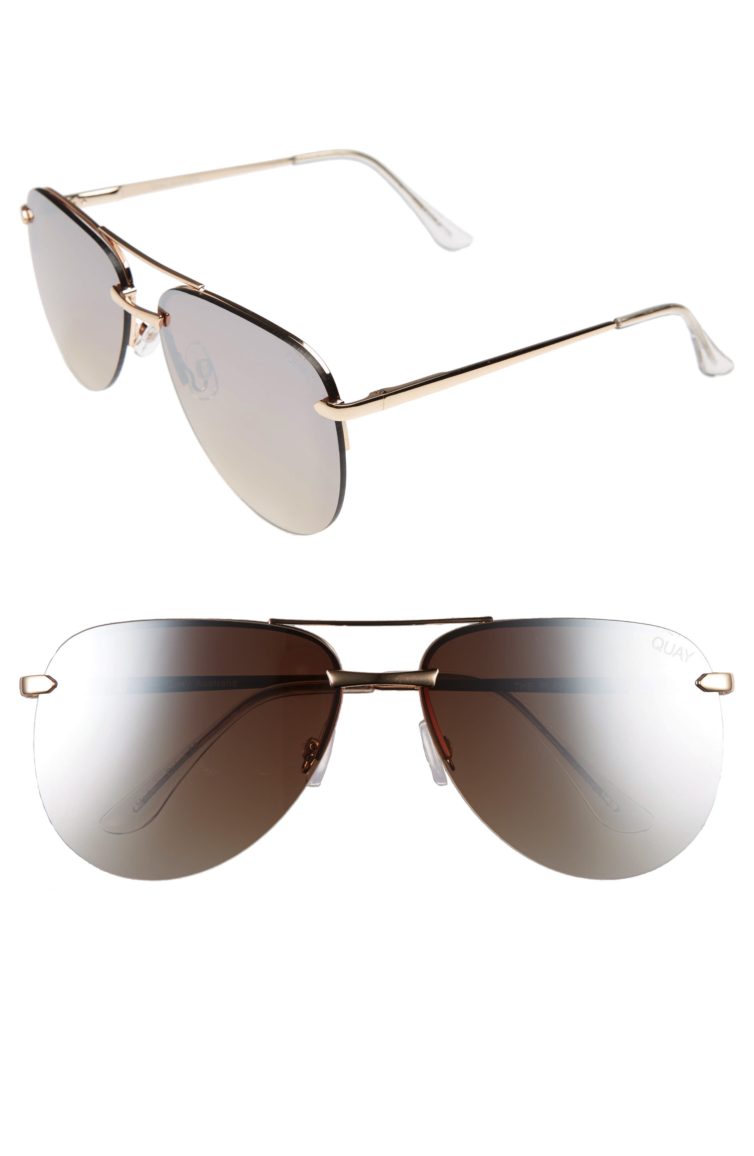 The Playa 64mm Aviator Sunglasses,                             Main thumbnail 1, color,                             GOLD/ BROWN